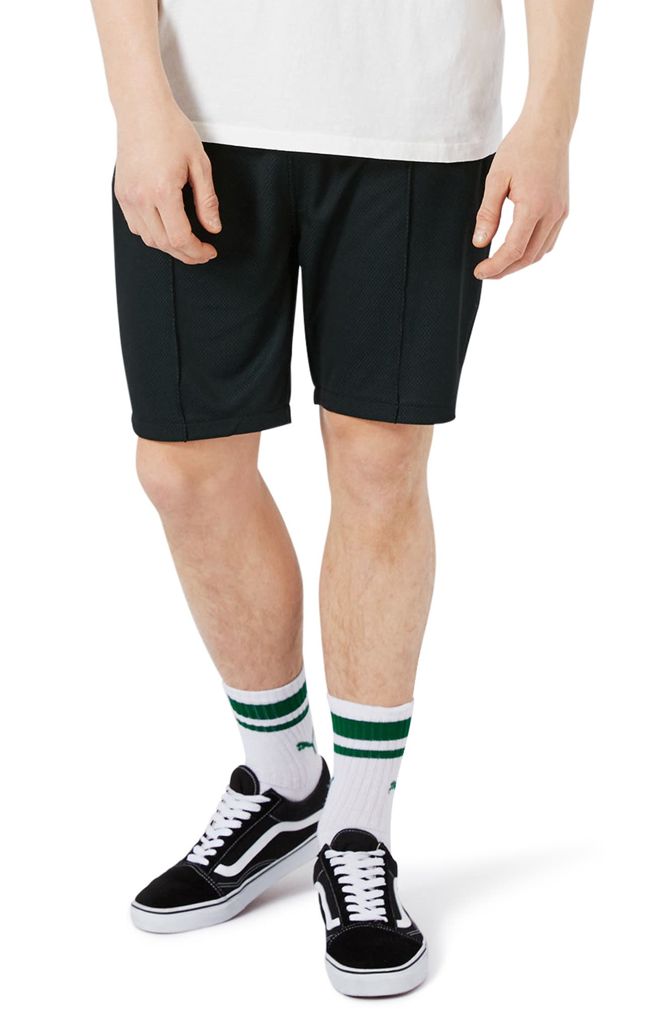 Main Image - Topman Two Tone Mesh Jersey Shorts