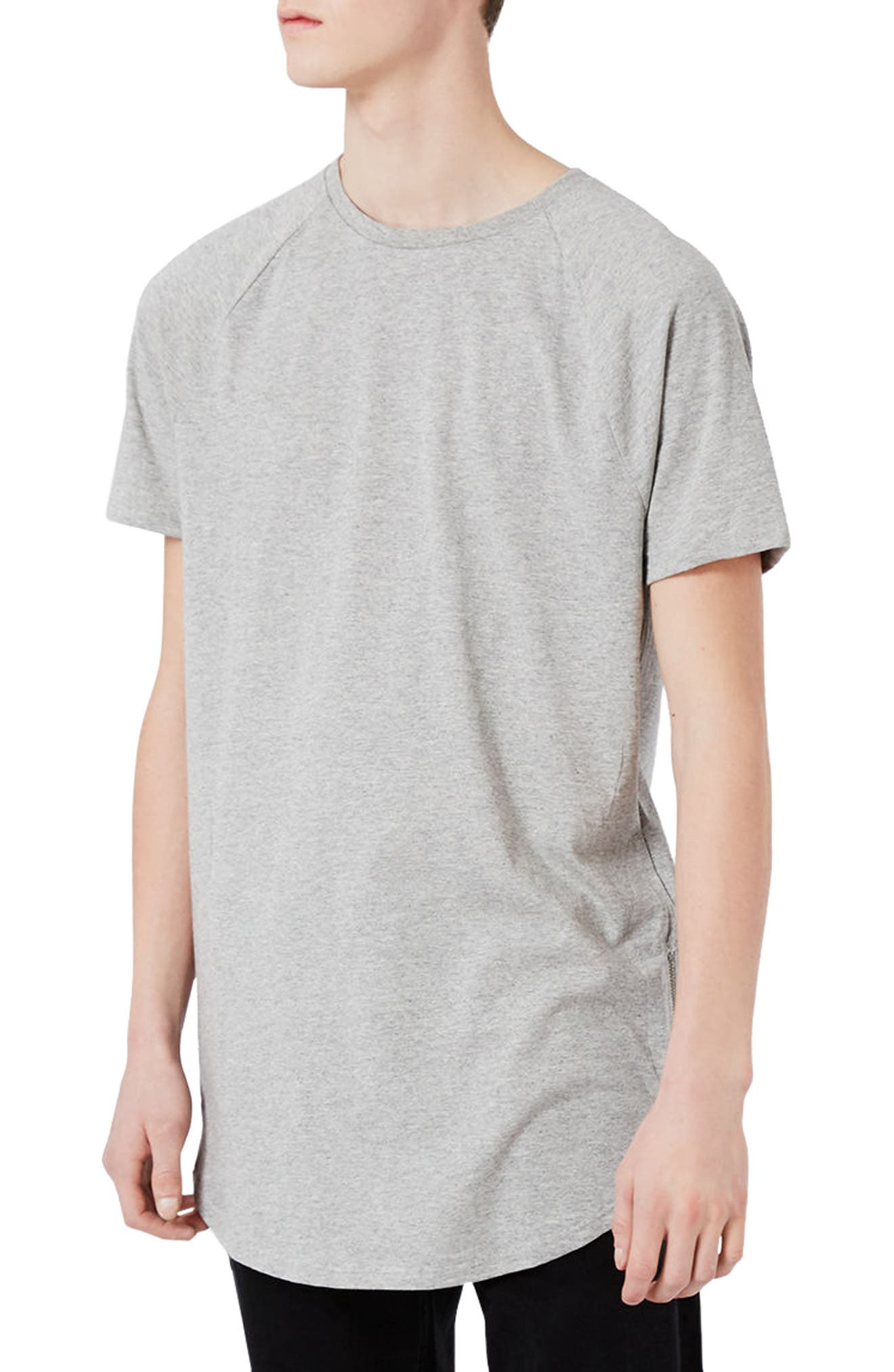 Topman Longline T-Shirt with Side Zips