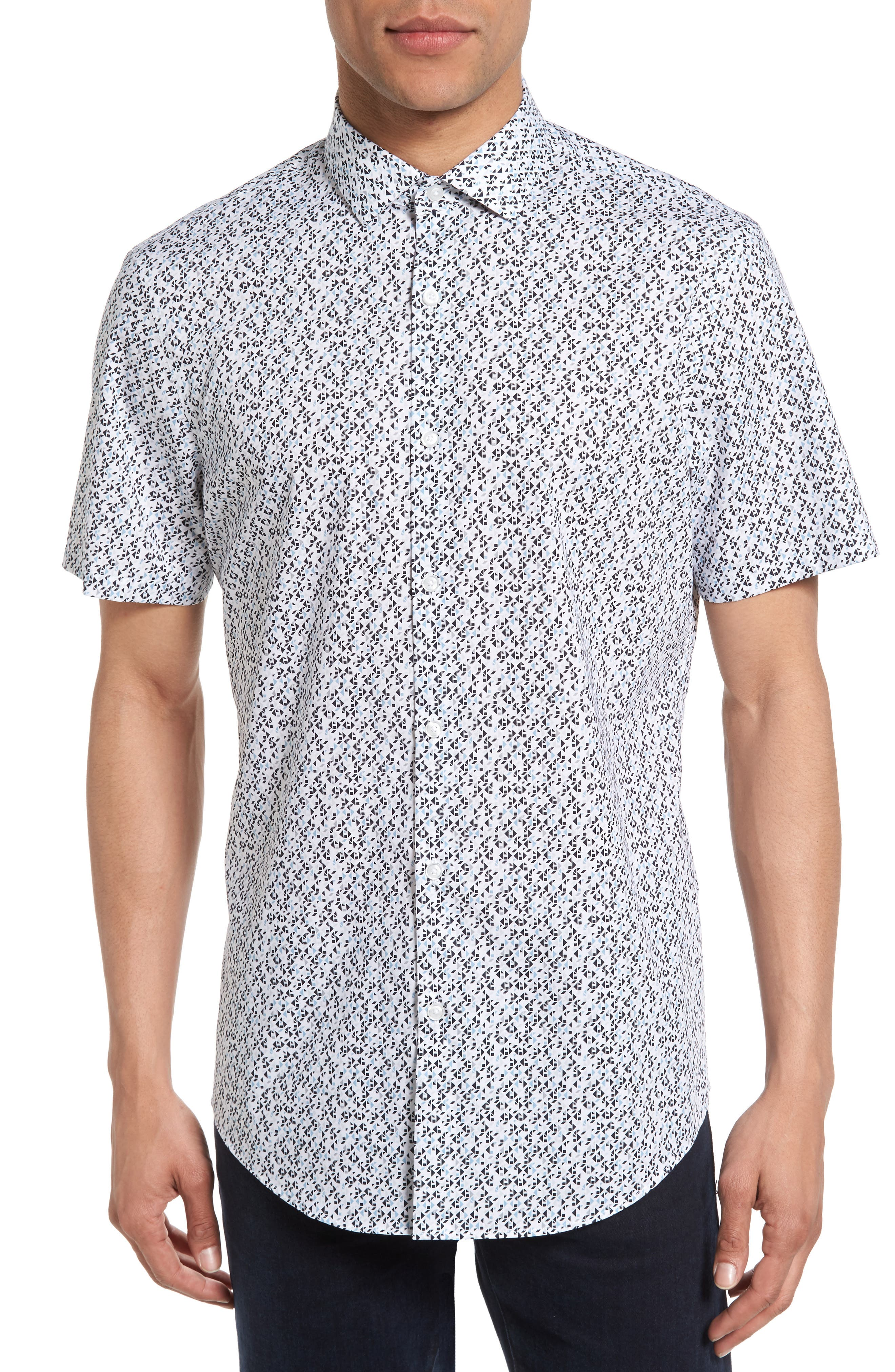 No-Iron Geo Print Woven Shirt,                         Main,                         color, Grey Lunar White Triangle Geo