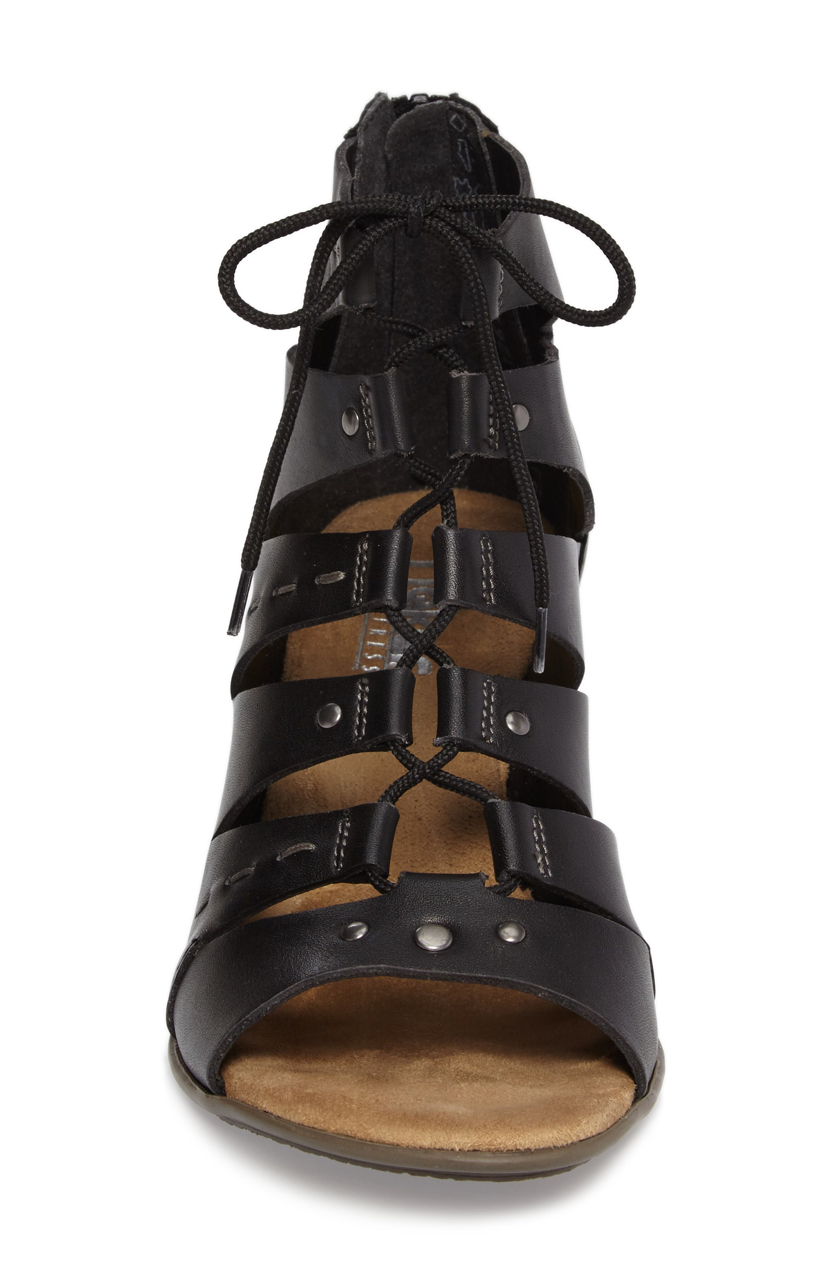 Aileen 99 Ghillie Cage Sandal,                             Alternate thumbnail 4, color,                             Black Leather