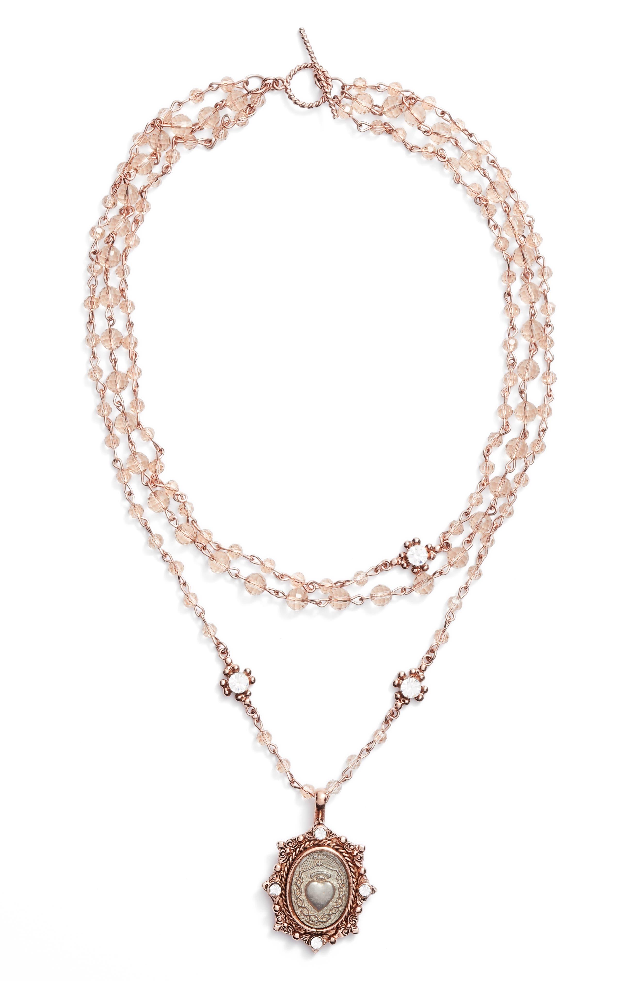 Sacred Heart Magdalena Multistrand Necklace,                         Main,                         color, Rose Gold/ Champagne