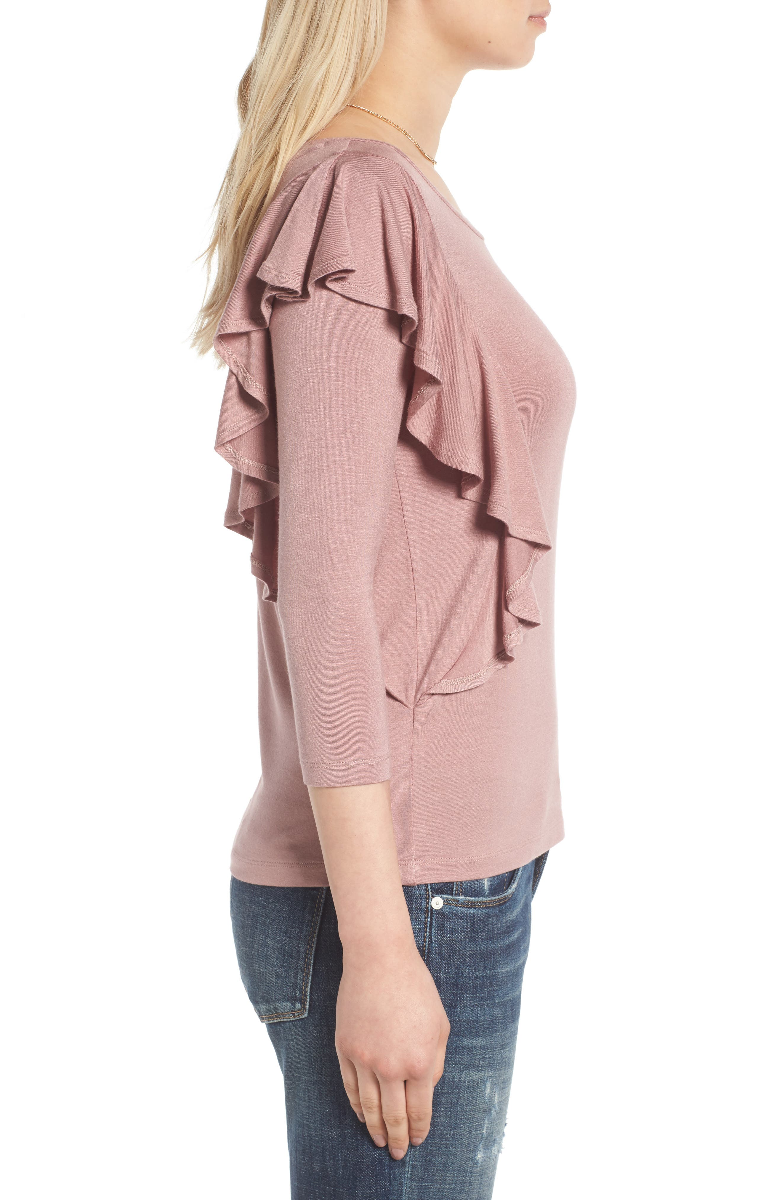 Alternate Image 3  - Madison & Berkeley Ruffle Knit Top