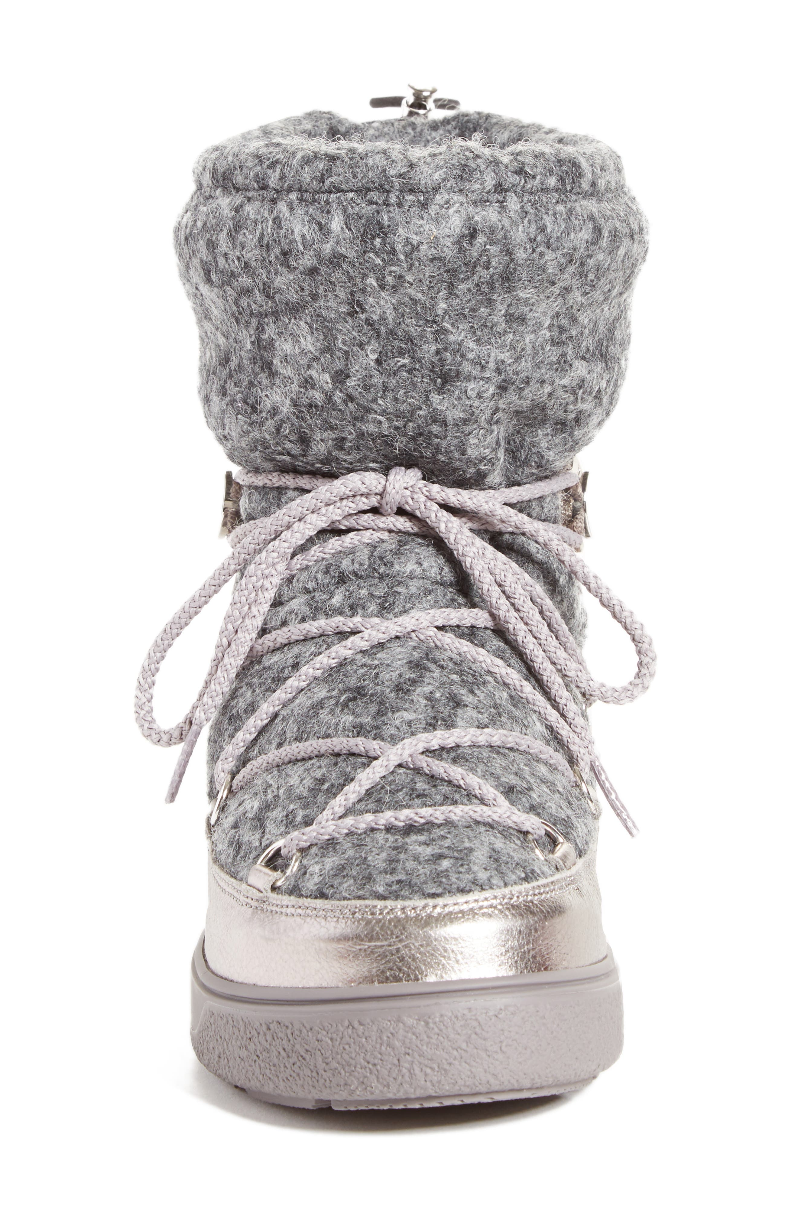 Ynnaf Boiled Wool Lined Snow Boot,                             Alternate thumbnail 4, color,                             Silver