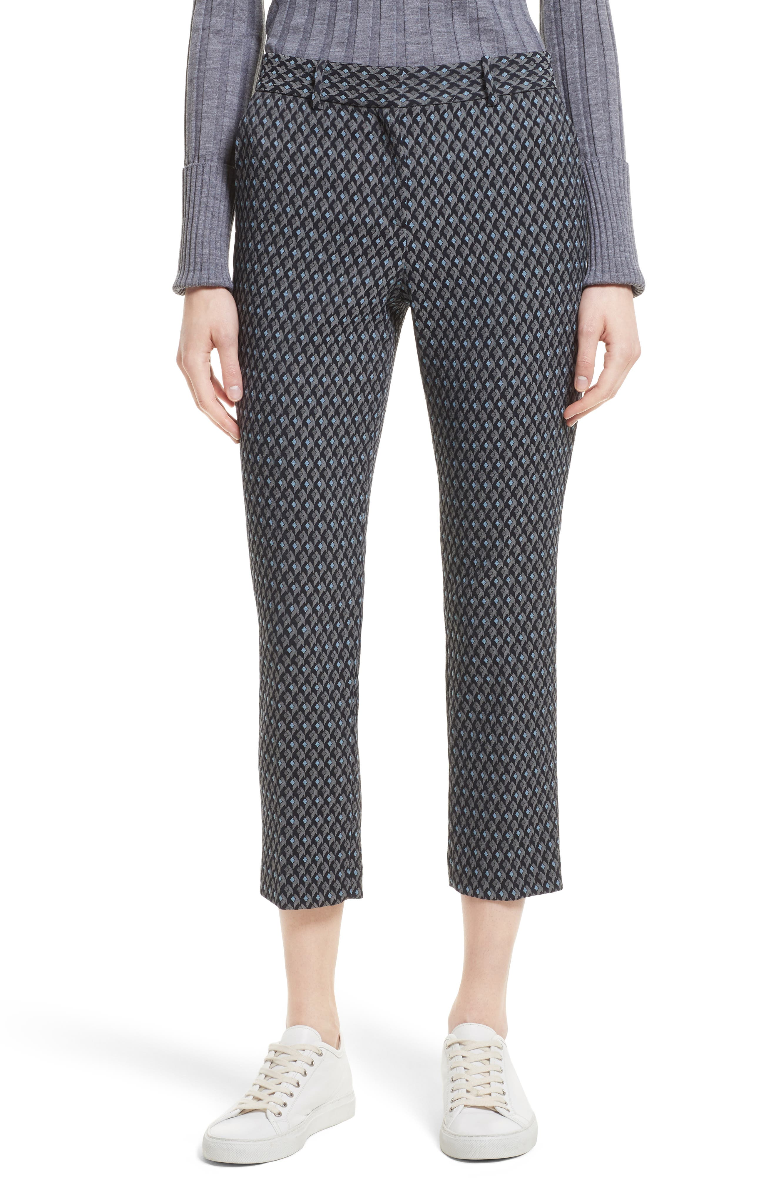 Treeca 2 Geo Jacquard Stretch Crop Pants,                         Main,                         color, Grey Multi