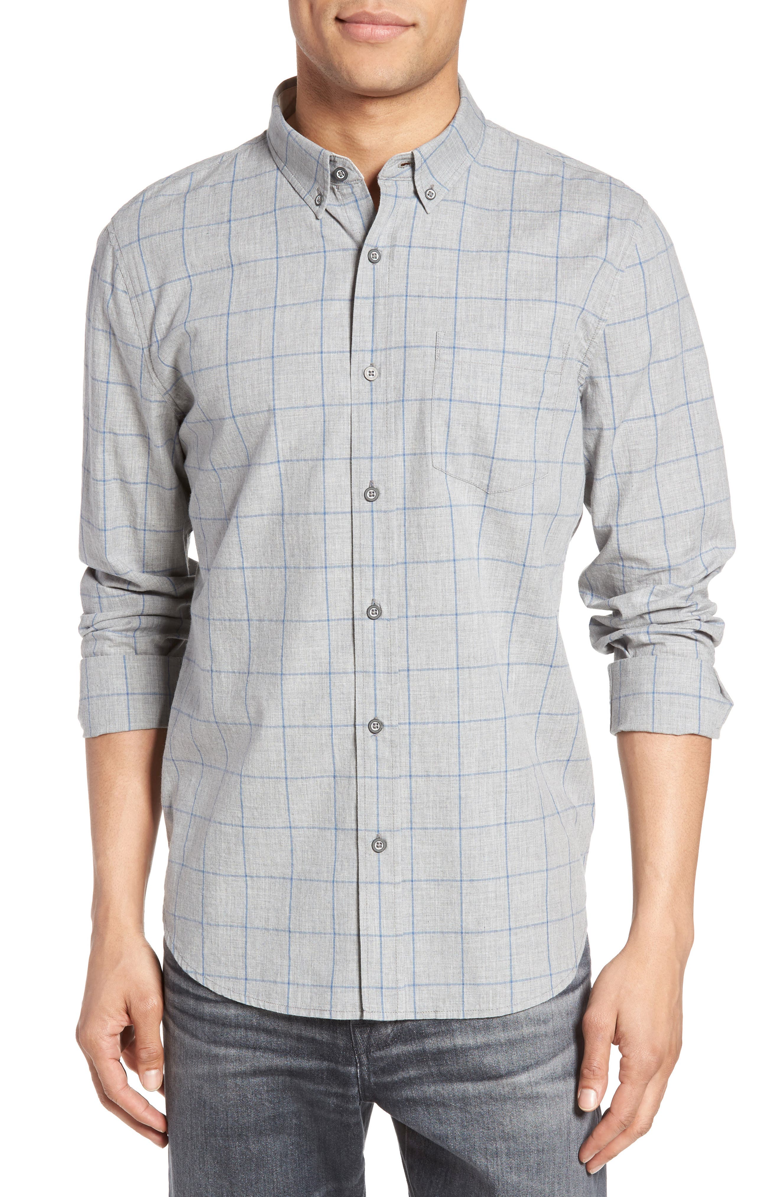 Grady Cotton Sport Shirt,                             Main thumbnail 1, color,                             Heather Grey/ Sailor Blue