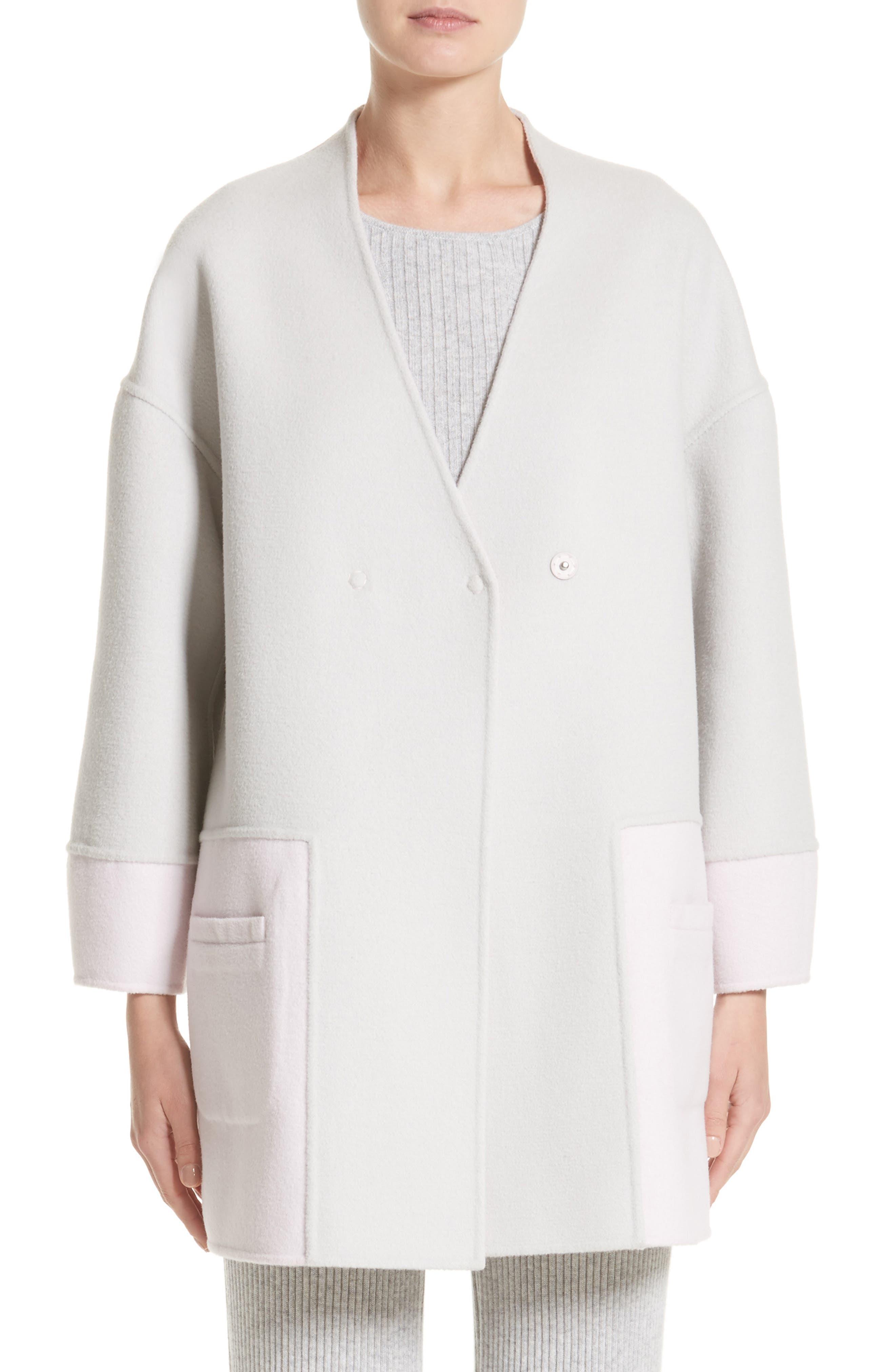 Reversible Wool Blend Cocoon Coat,                             Main thumbnail 1, color,                             Petal/ Light Grey Melange