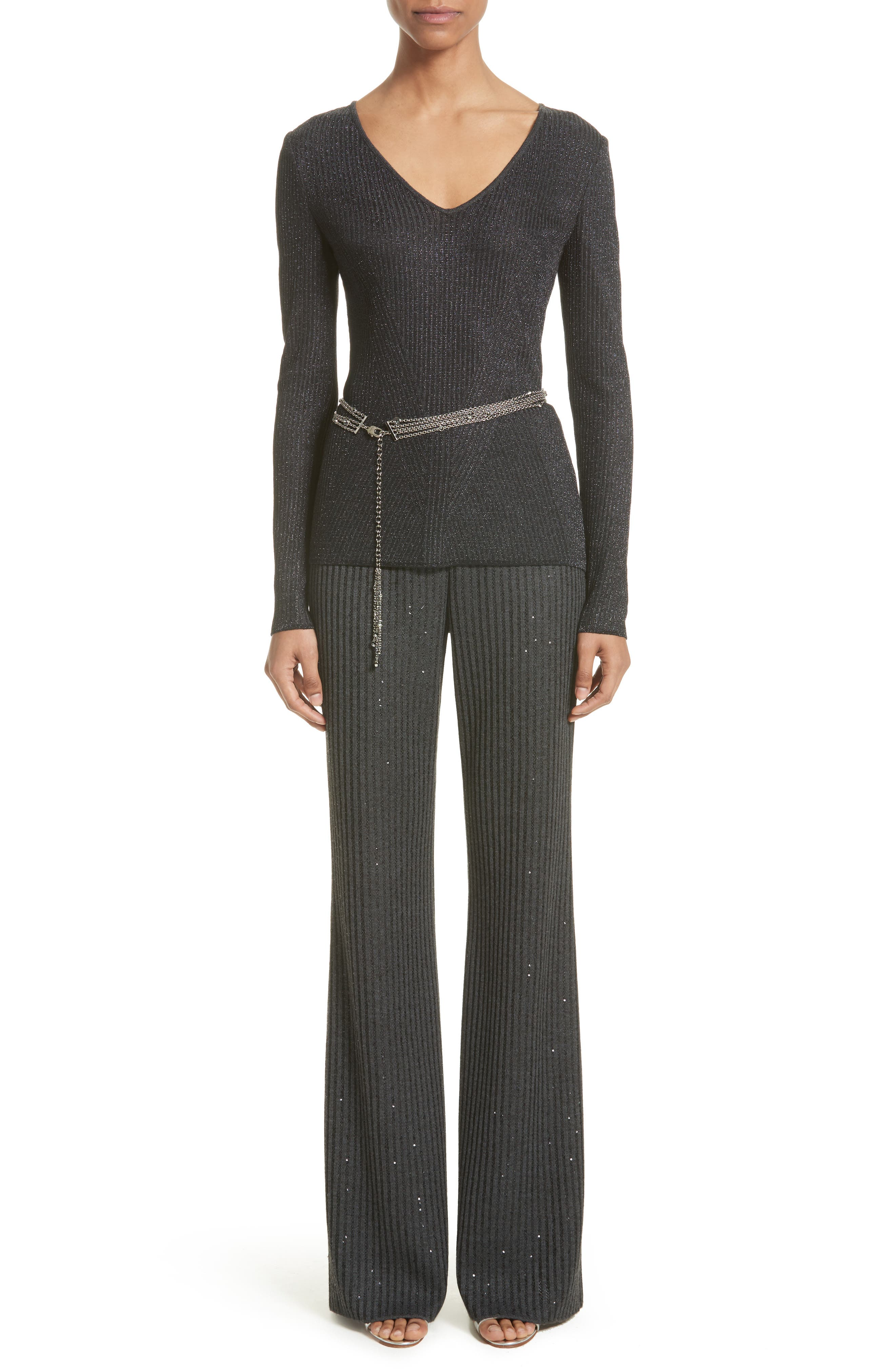 Alternate Image 8  - St. John Collection Engineered Rib Sparkle Knit Sweater