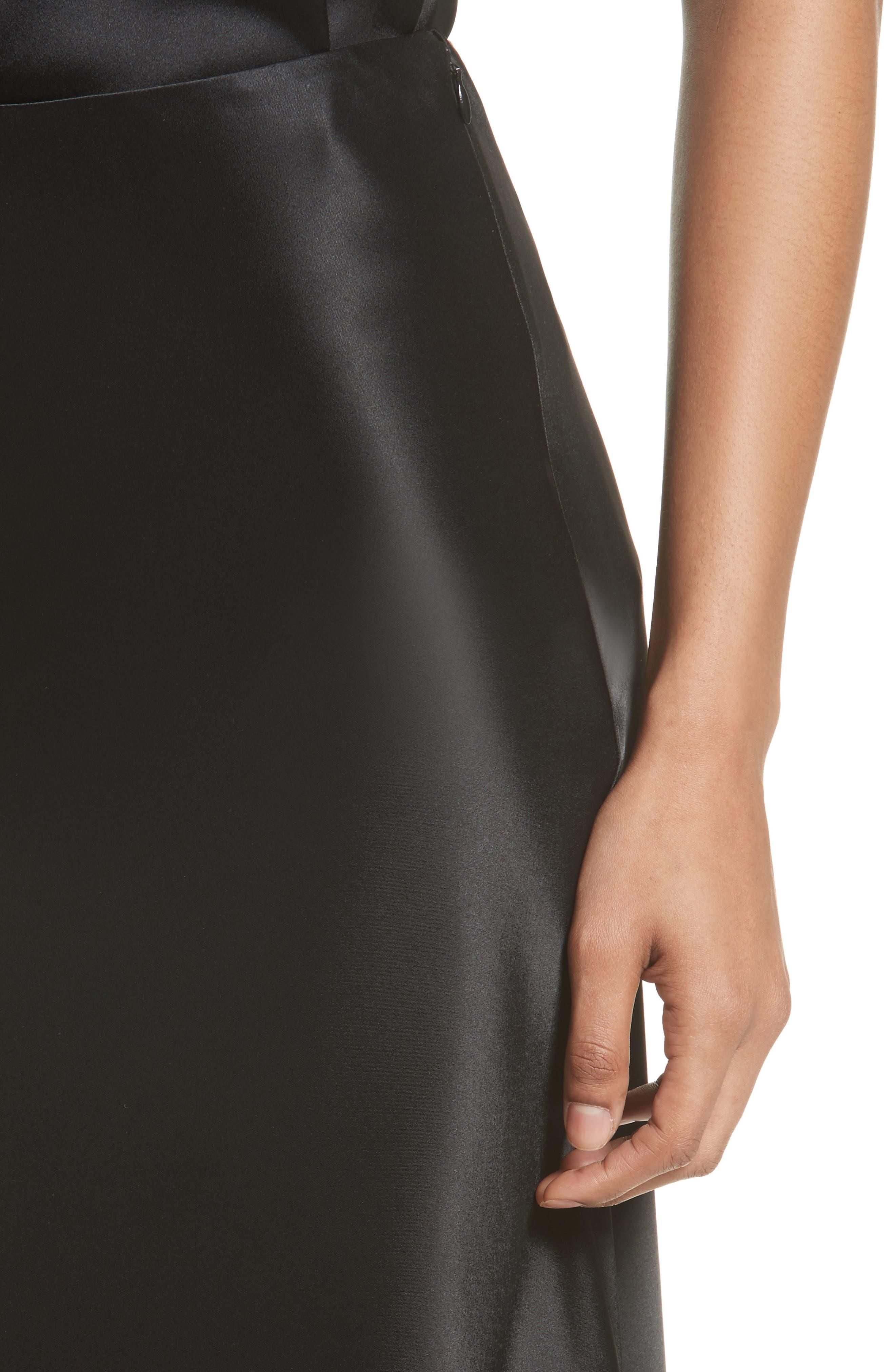 Bias Cut Liquid Satin Flared Skirt,                             Alternate thumbnail 4, color,                             Caviar