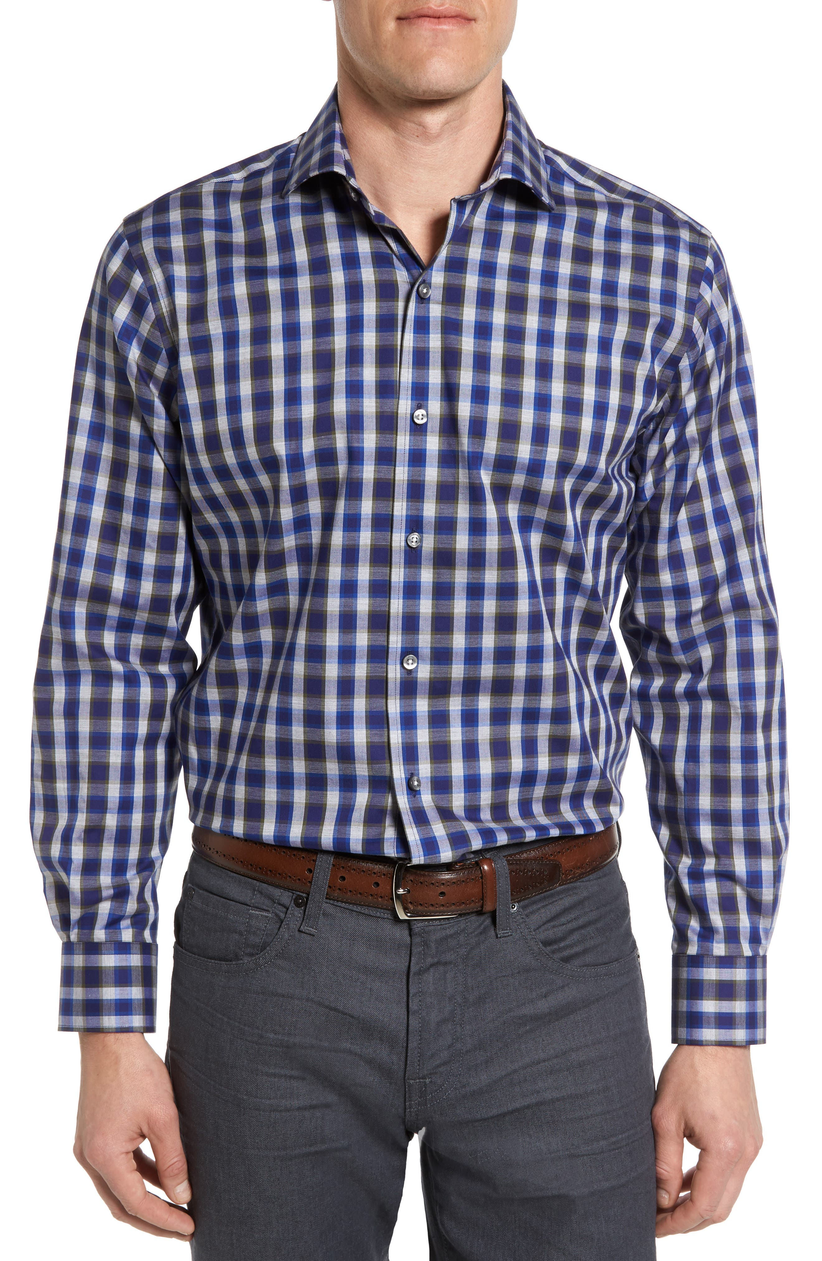 Maker & Company Tailored Fit Grid Check Sport Shirt