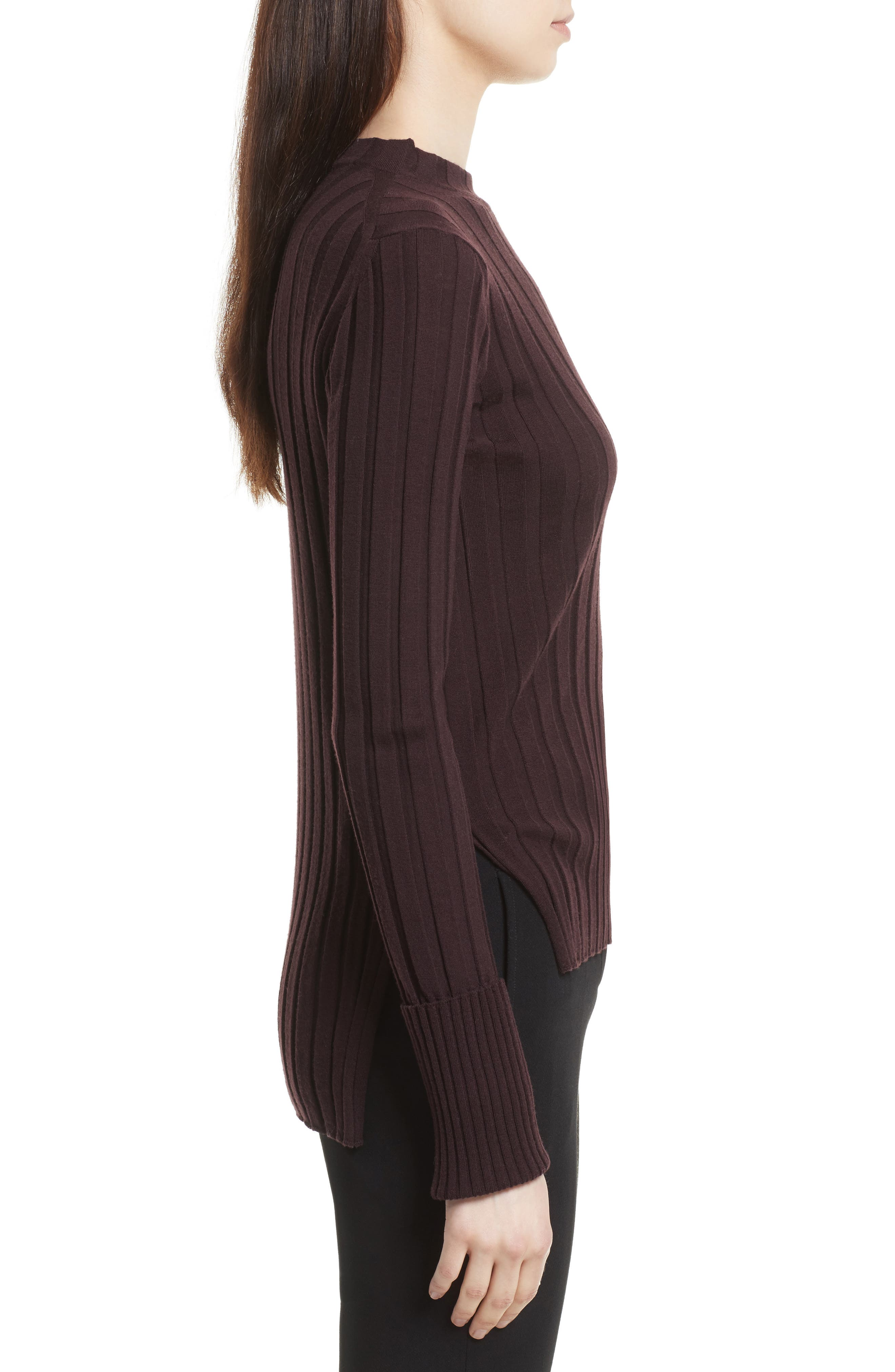 Alternate Image 3  - Theory Wide Ribbed Mock Neck Wool Sweater