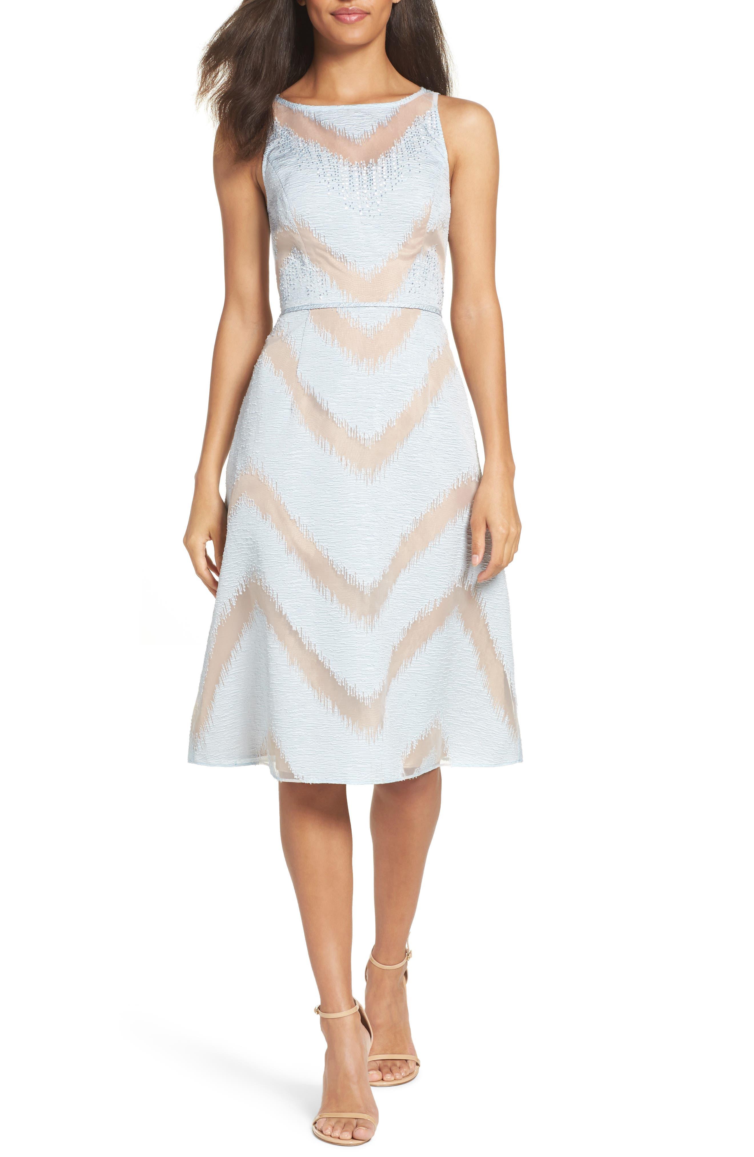 Jacquard Midi Dress,                             Main thumbnail 1, color,                             Ice