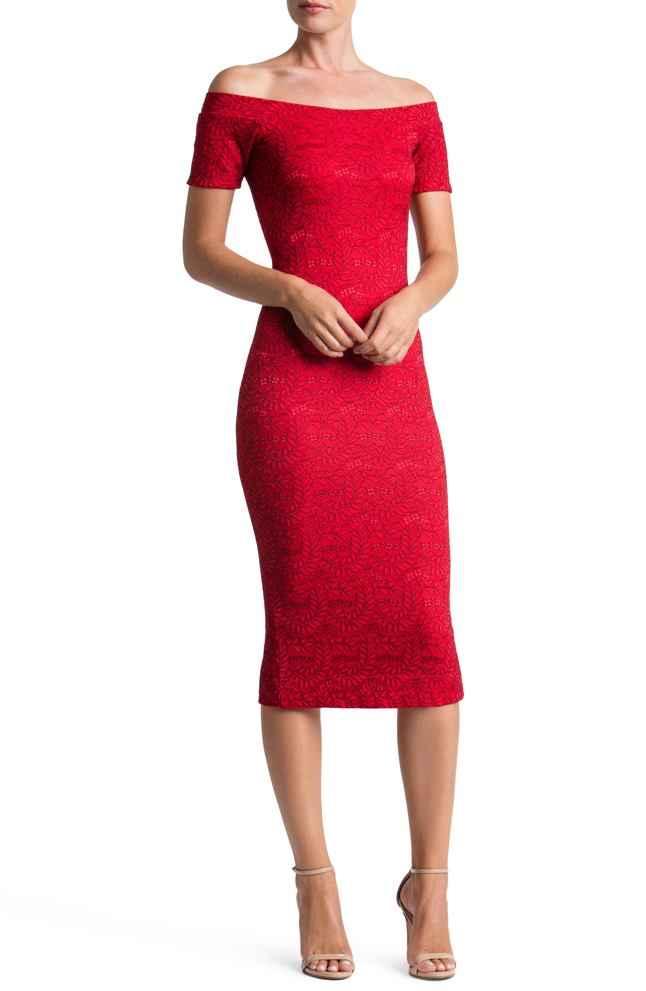 Jemma Off the Shoulder Dress,                         Main,                         color, Red/ Black