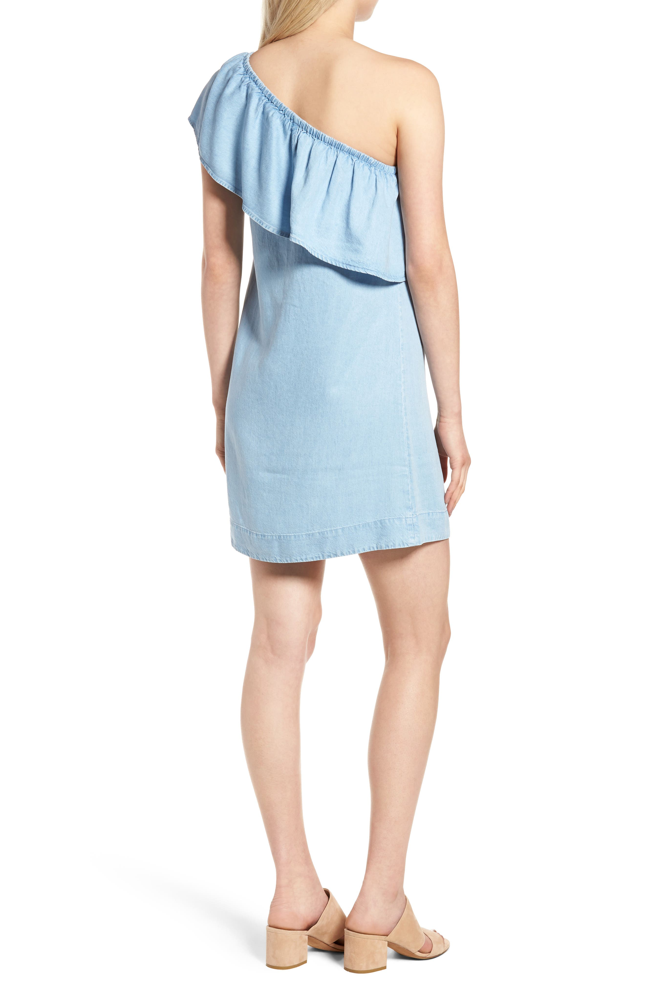 Chambray One-Shoulder Dress,                             Alternate thumbnail 2, color,                             Rio Vista Blue