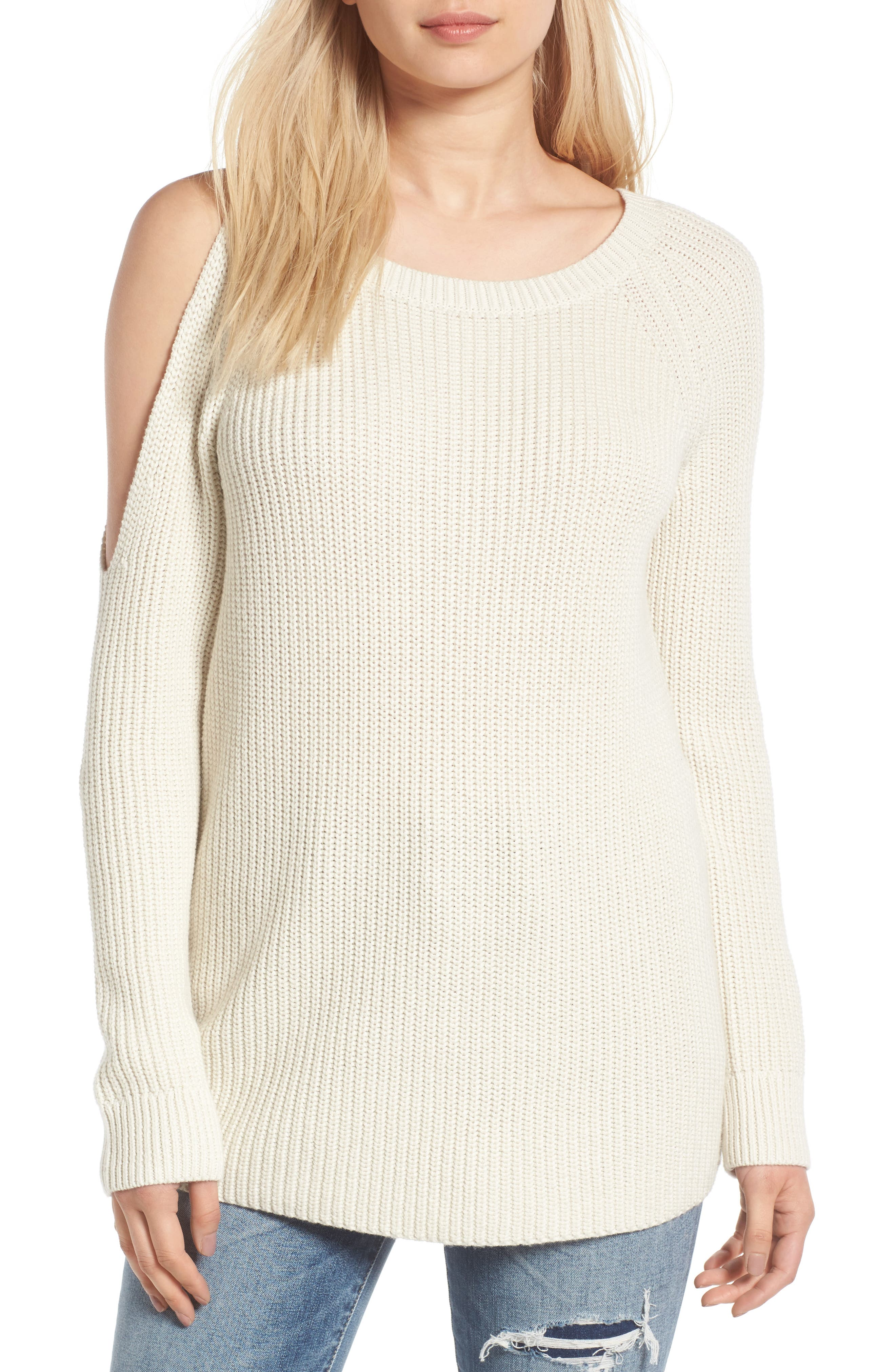 TREASURE & BOND Asymmetrical Cold Shoulder Sweater