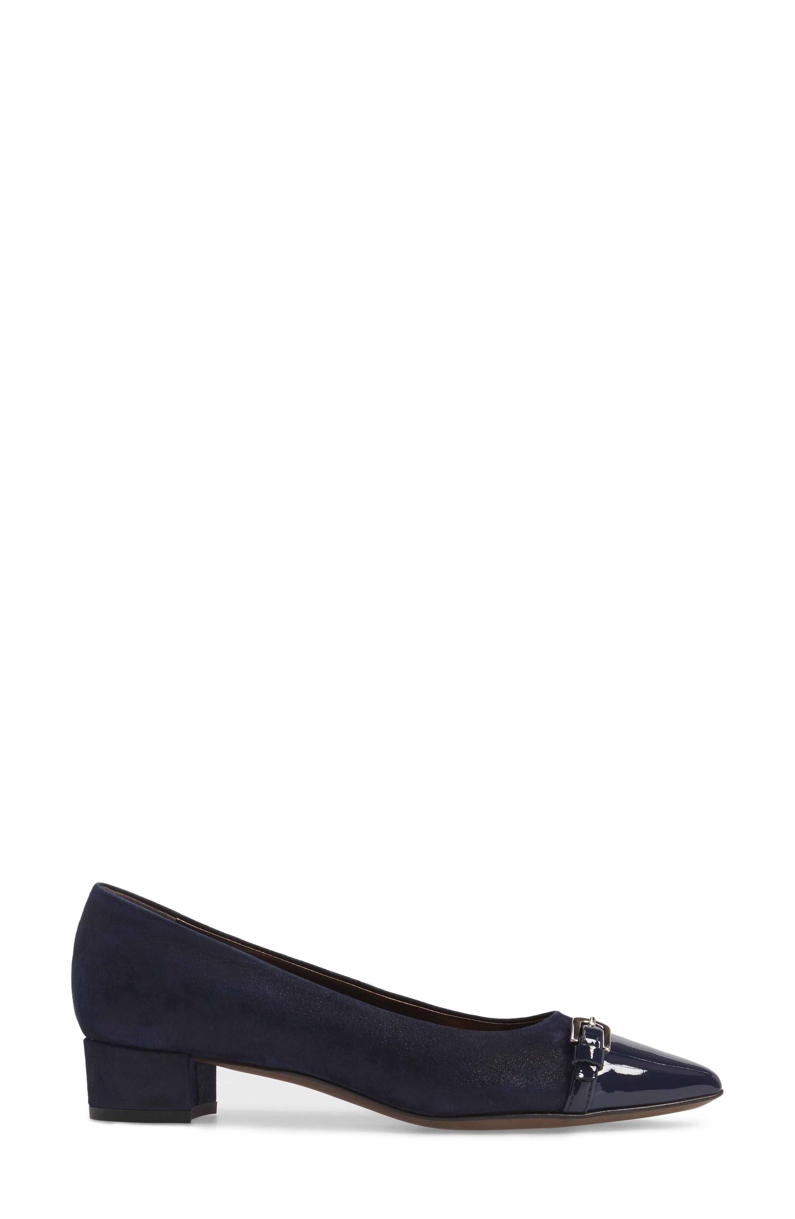Belted Block Heel Pump,                             Alternate thumbnail 4, color,                             Night Shimmer Leather