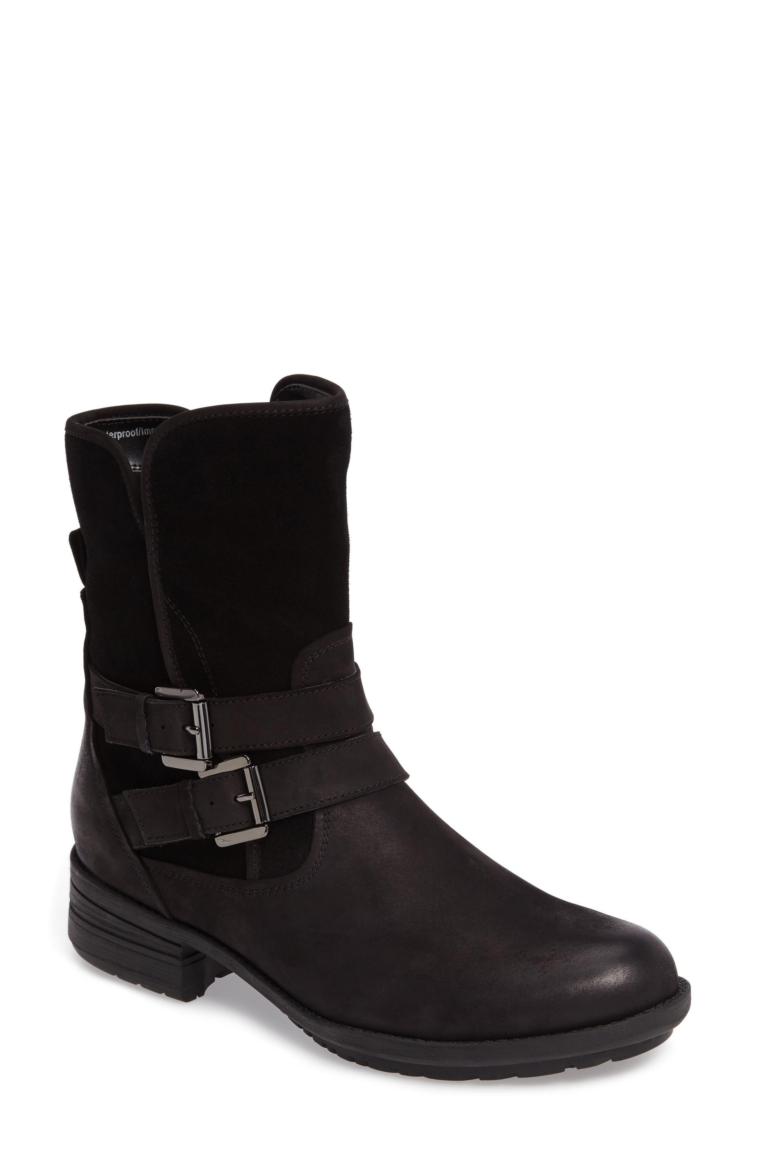 Tula Waterproof Boot,                         Main,                         color, Black Nubuck Leather