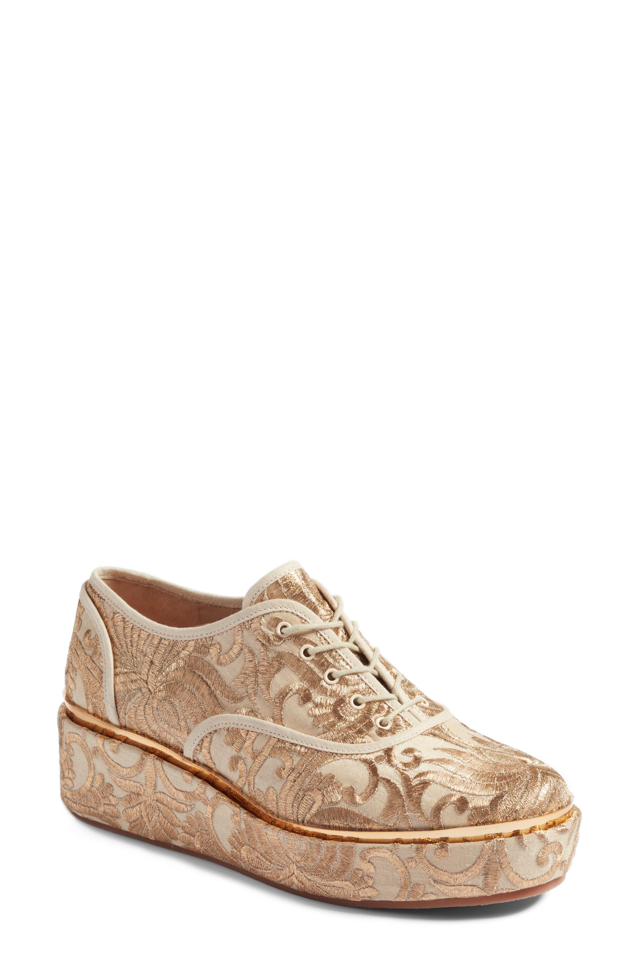 Arden Platform Oxford,                             Main thumbnail 1, color,                             Beige/ Gold Nayan Brocade
