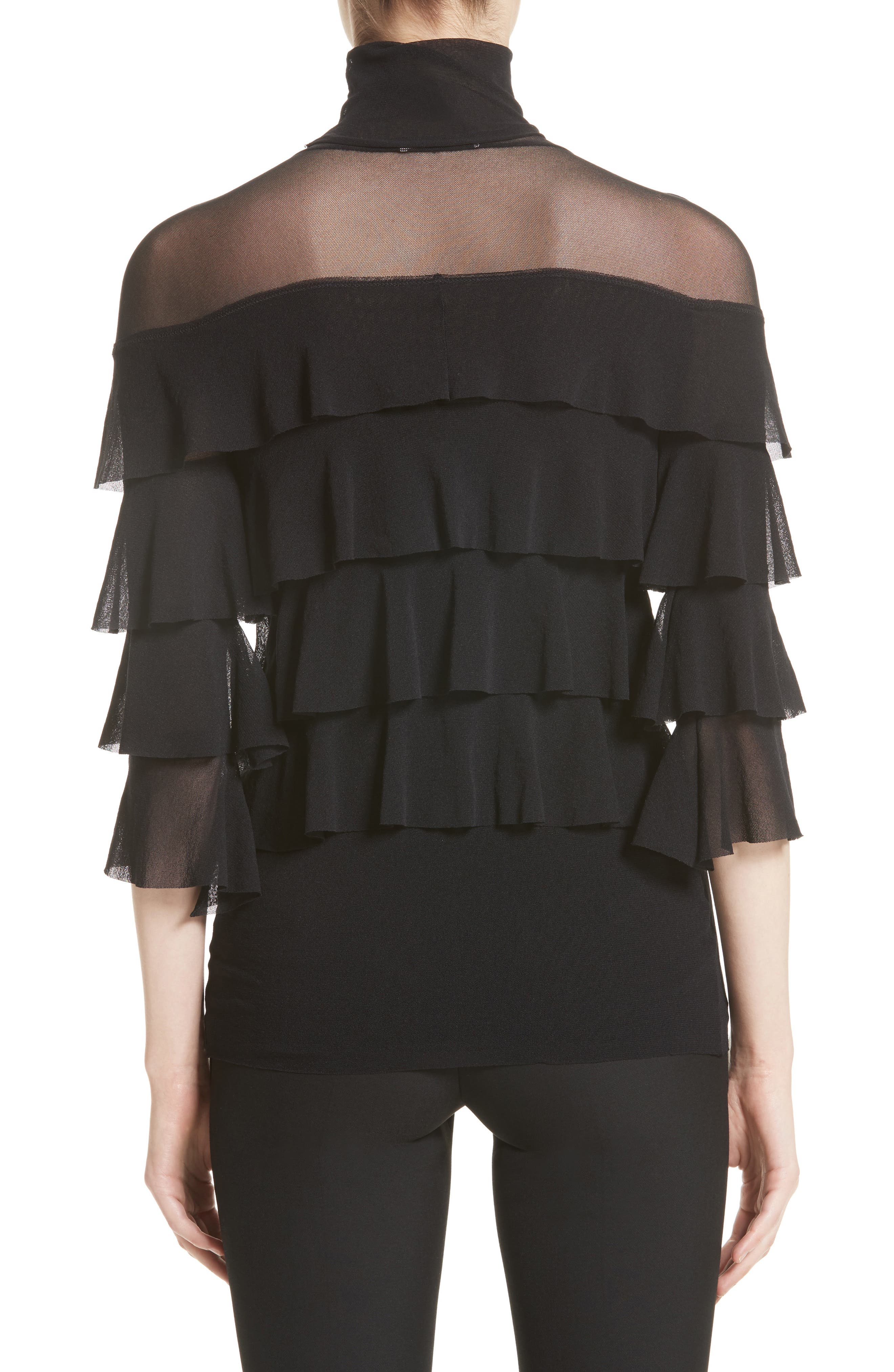 Ruffle Tiered Tulle Top,                             Alternate thumbnail 2, color,                             Nero