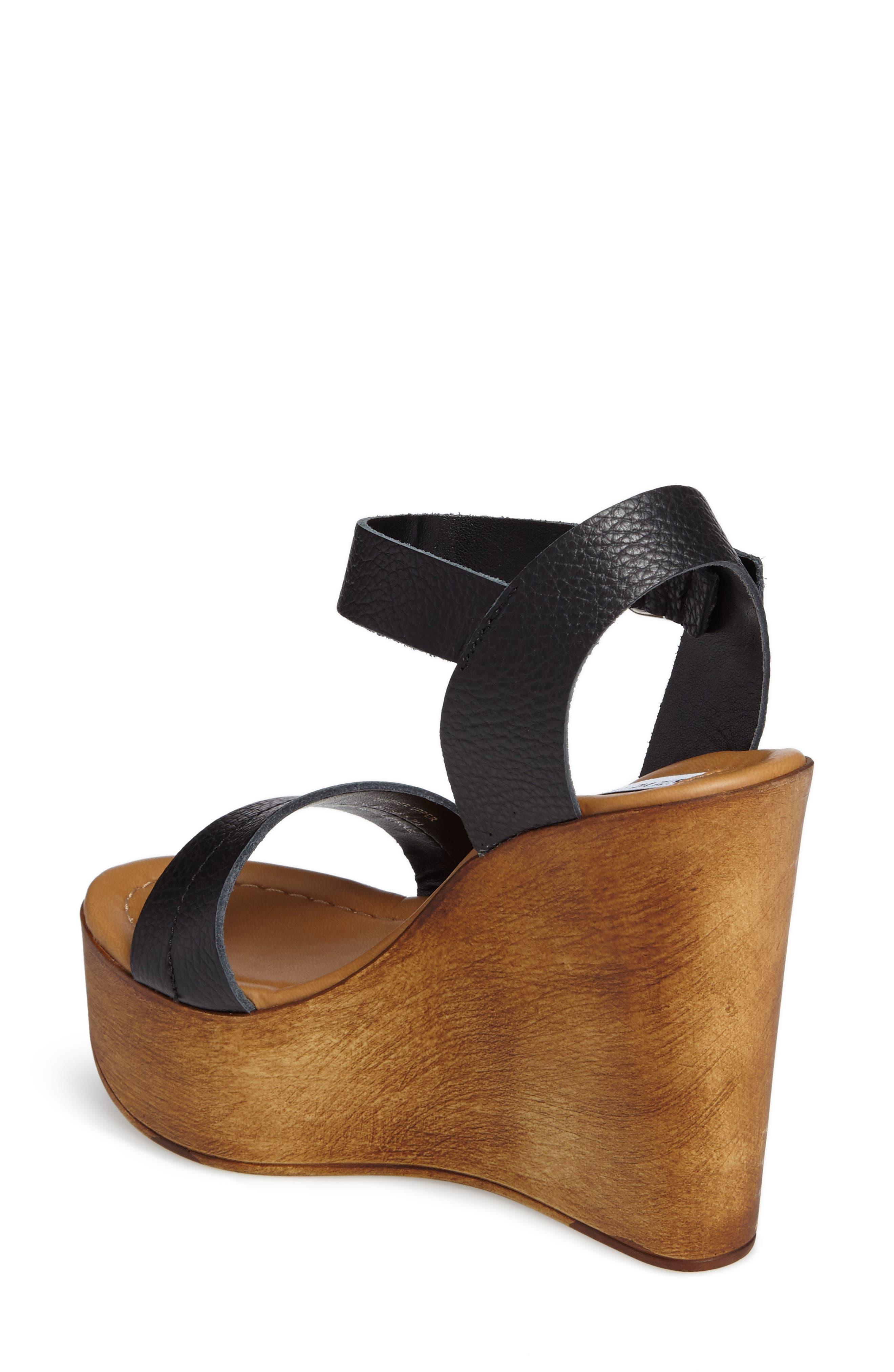 Belma Wedge Sandal,                             Alternate thumbnail 2, color,                             Black Leather