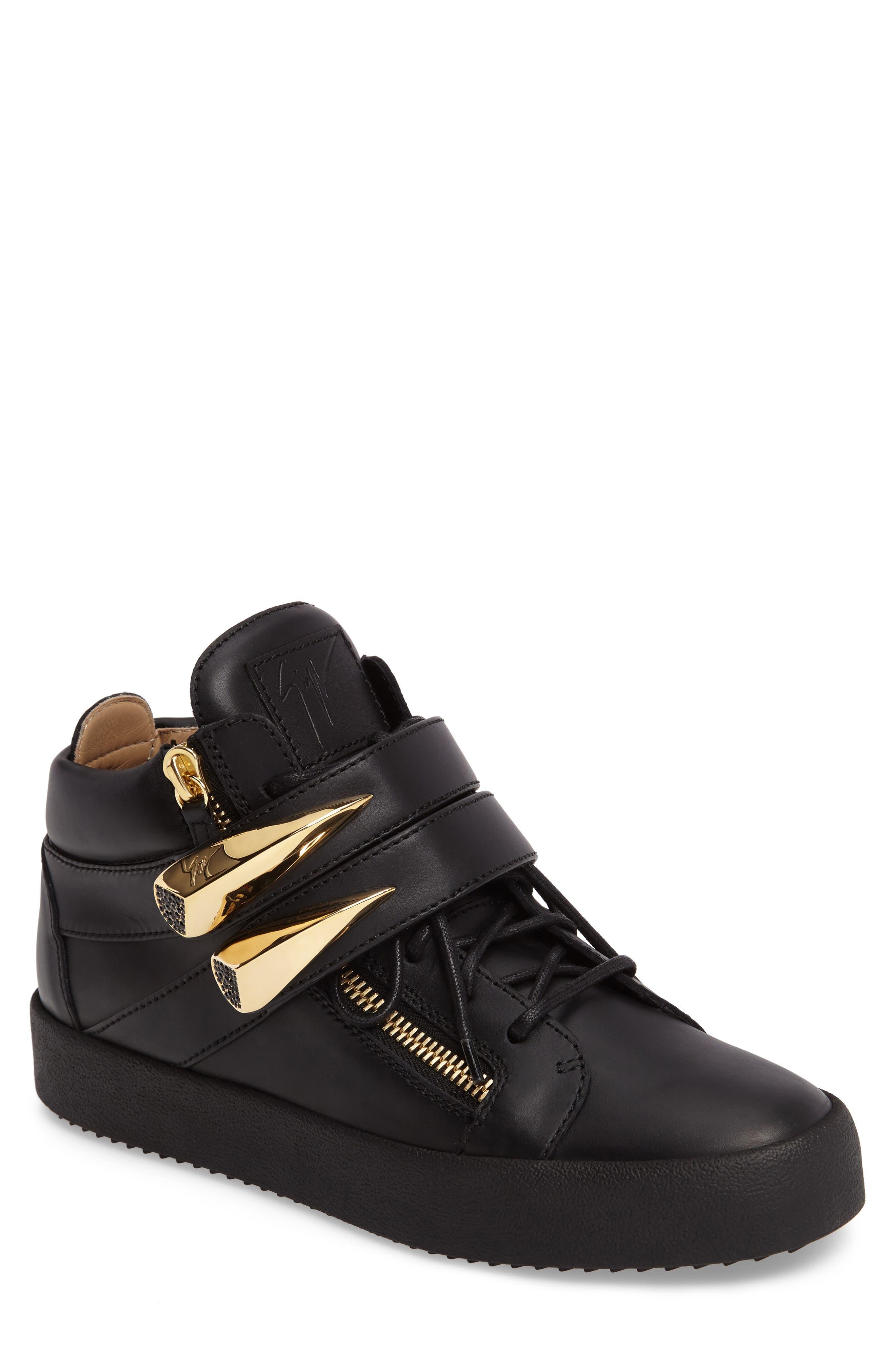 Giuseppe Zanotti Gold Horn Mid Top Sneaker (Men)