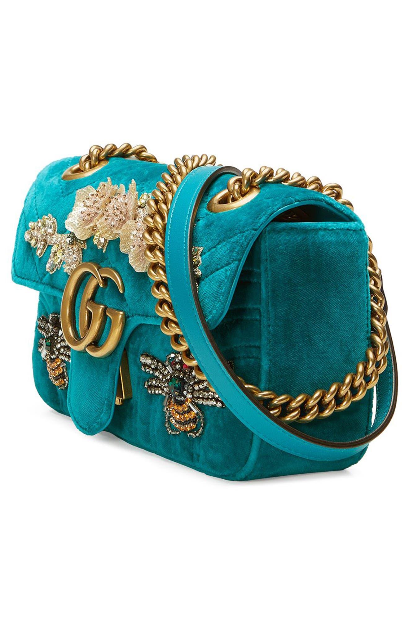 Alternate Image 4  - Gucci Mini GG Marmont Matelassé Velvet Shoulder Bag
