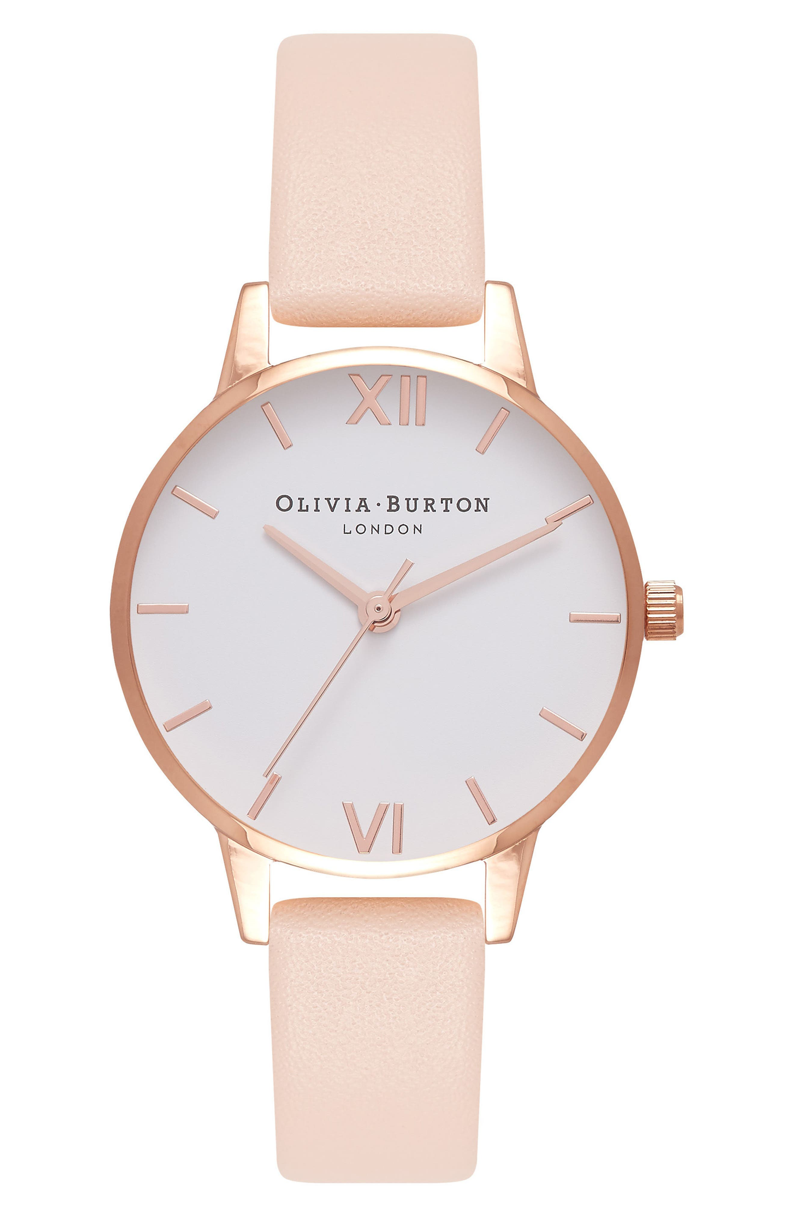 Main Image - Olivia Burton Midi Dial Leather Strap Watch, 30mm