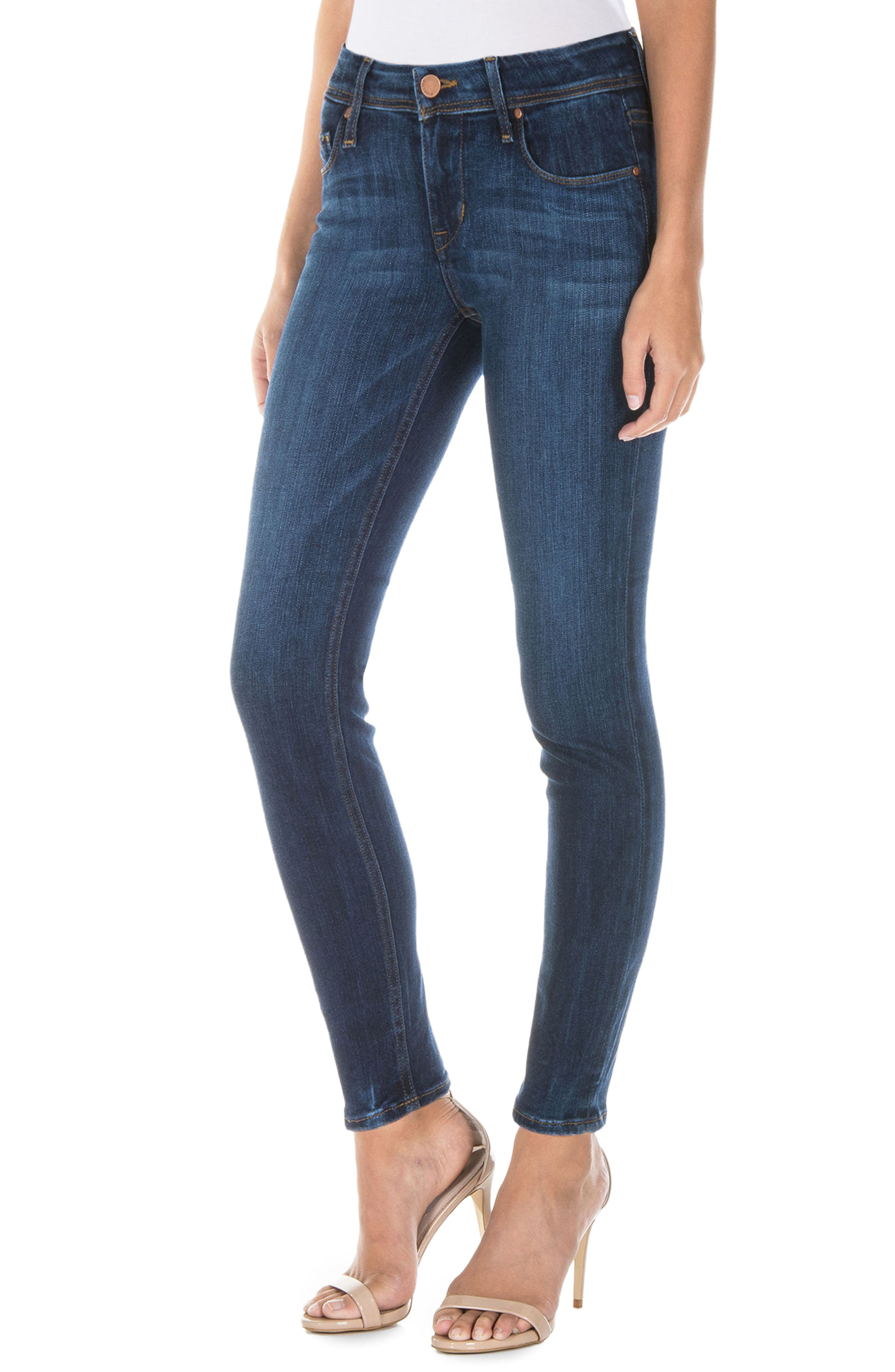 Gwen High Waist Skinny Jeans,                             Alternate thumbnail 3, color,                             Falcon Blue
