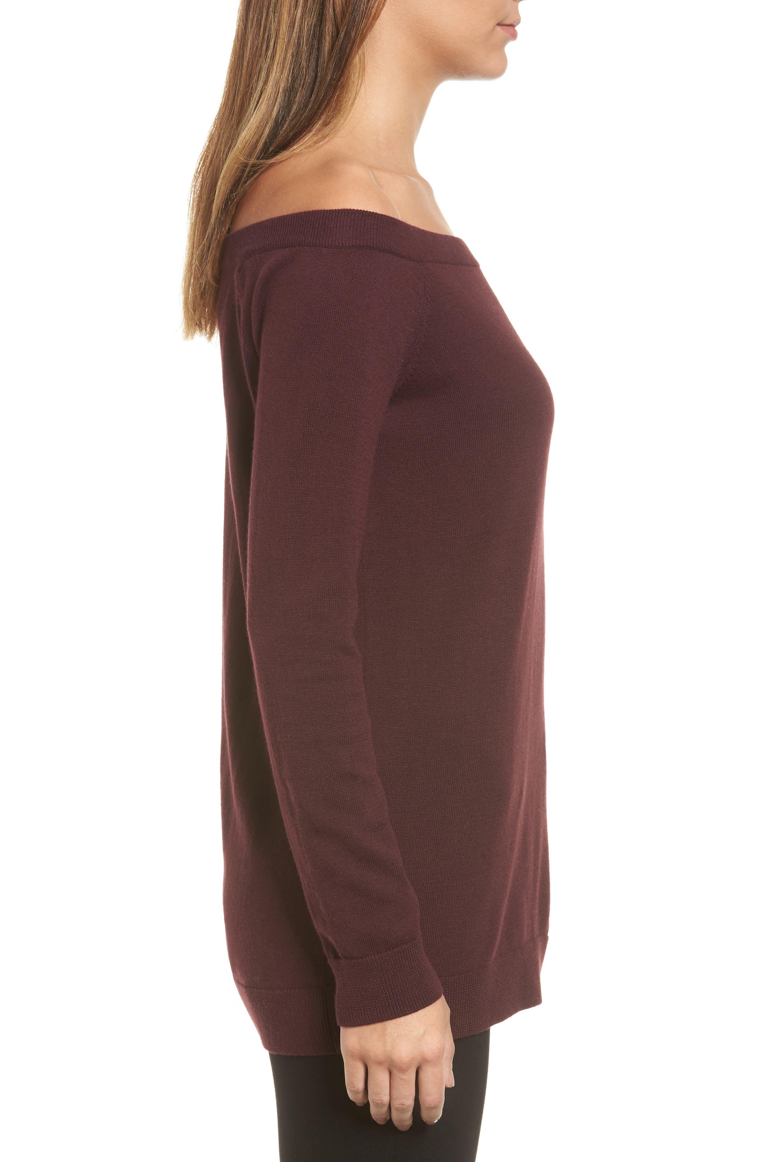 Alternate Image 3  - Halogen® Cotton Blend Off the Shoulder Sweater (Regular & Petite)