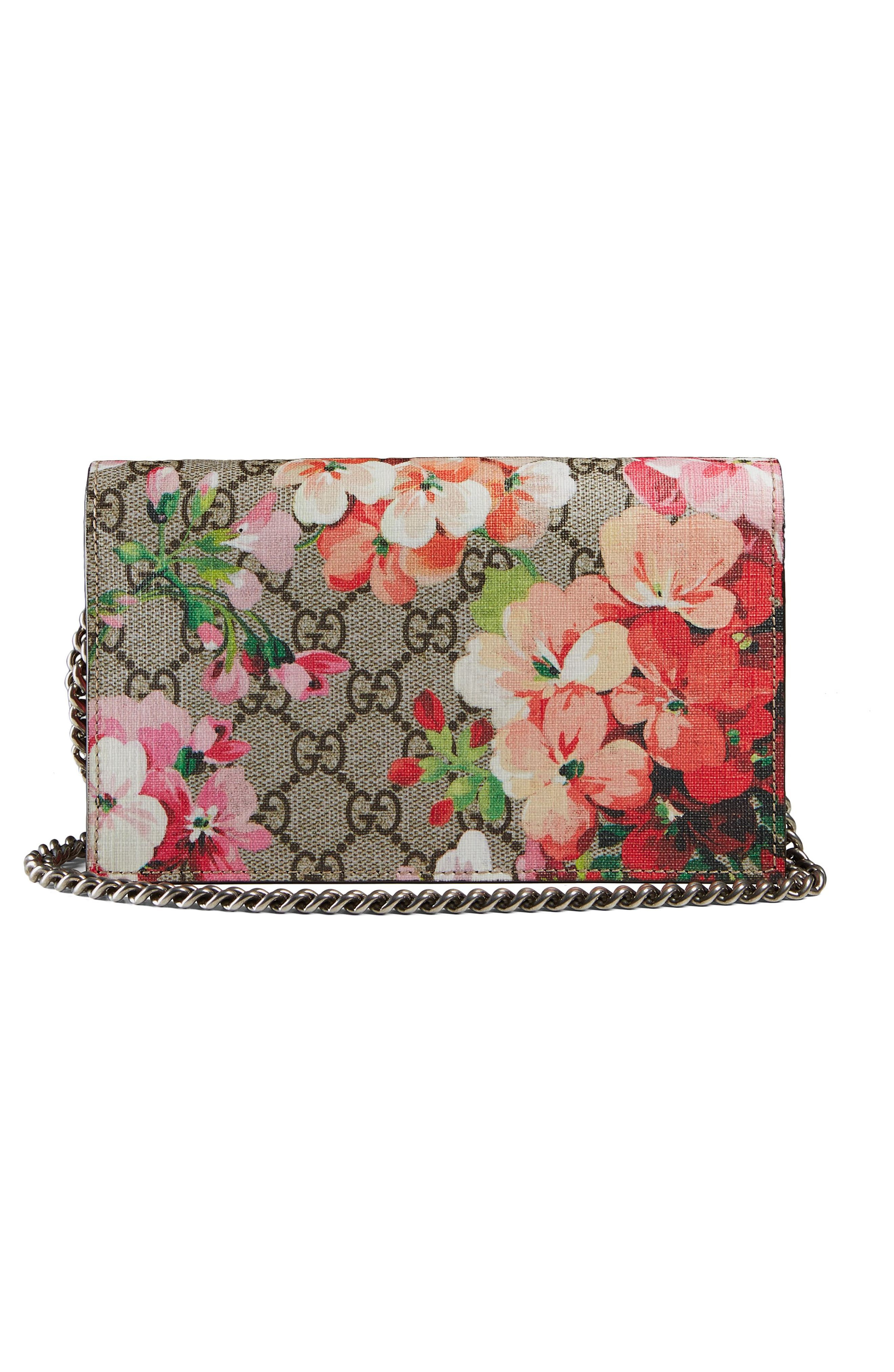 GG Blooms Supreme Canvas Wallet on a Chain,                             Alternate thumbnail 3, color,                             Beige Ebony Multi/Dry Rose