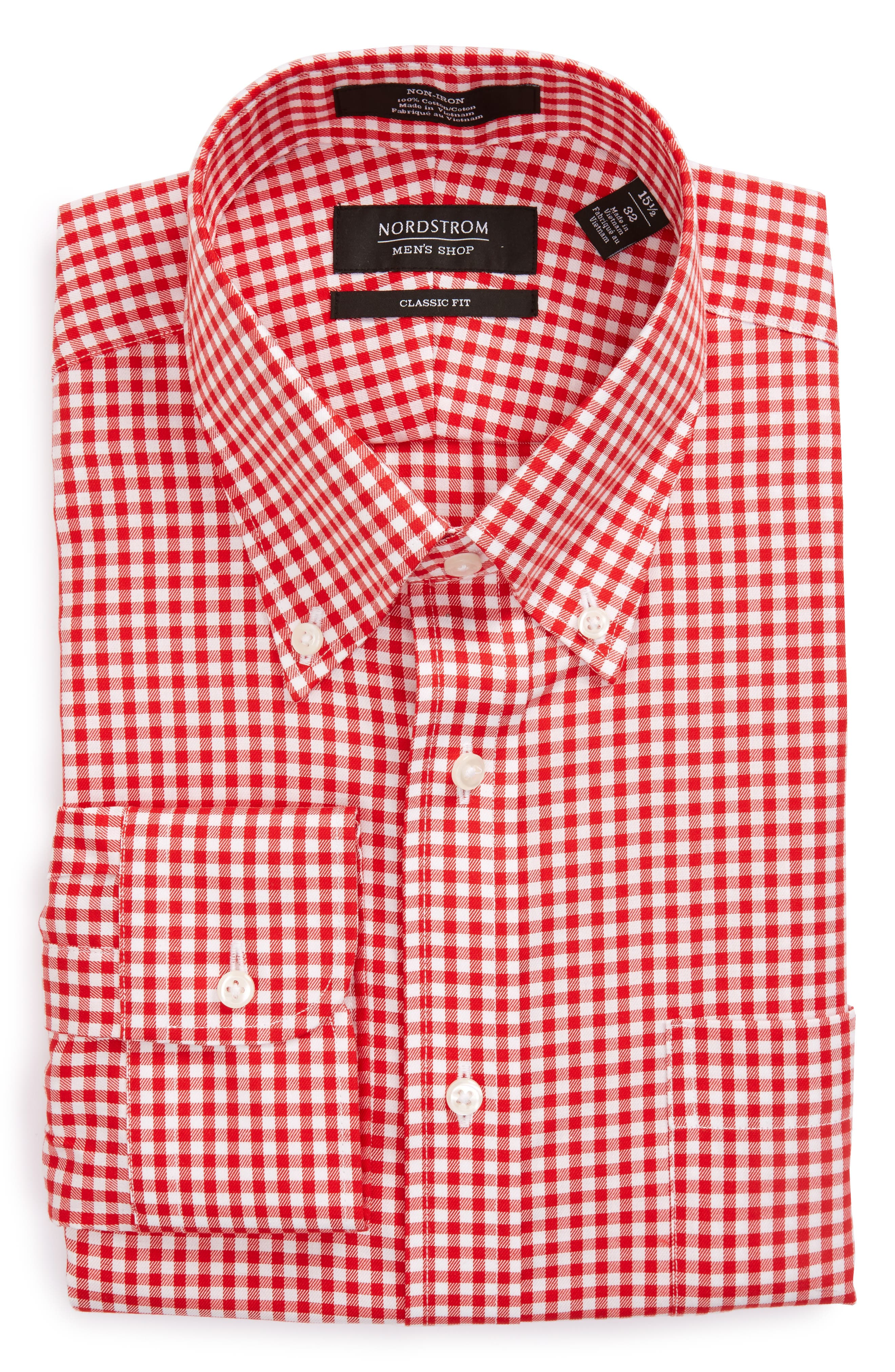 Classic Fit Non-Iron Gingham Dress Shirt,                         Main,                         color, Red Blaze