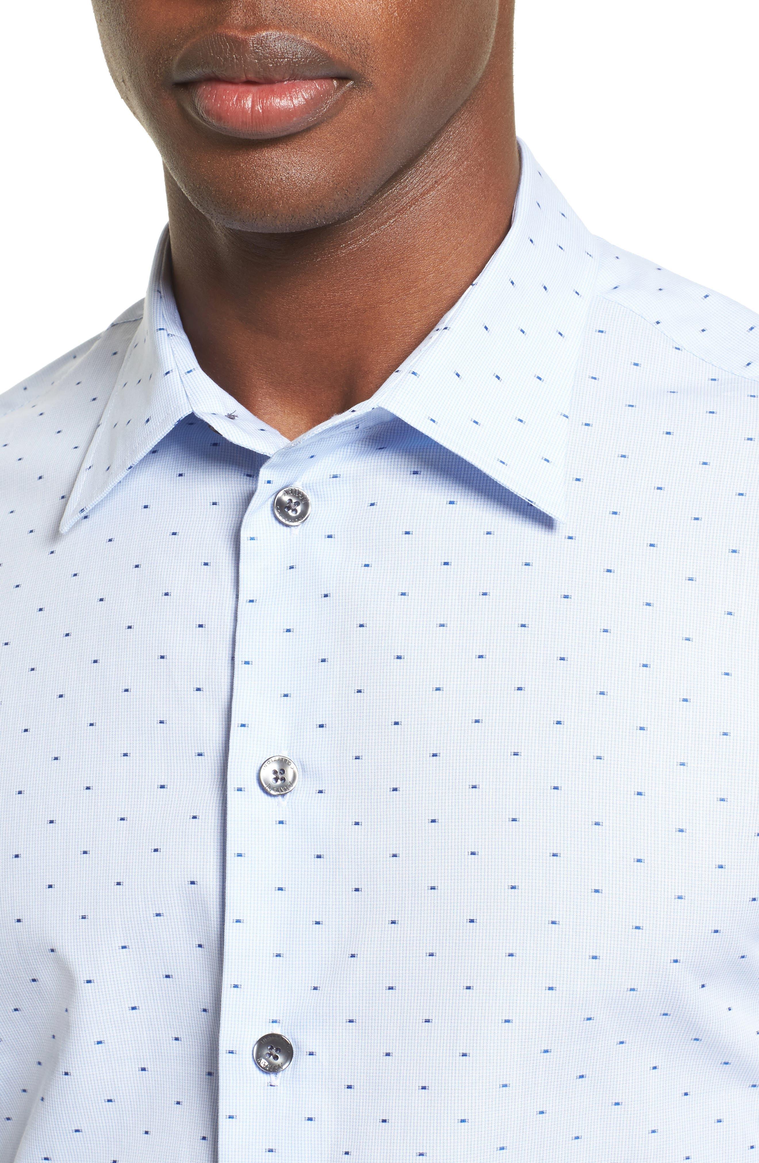 Regular Fit Print Sport Shirt,                             Alternate thumbnail 4, color,                             Blue