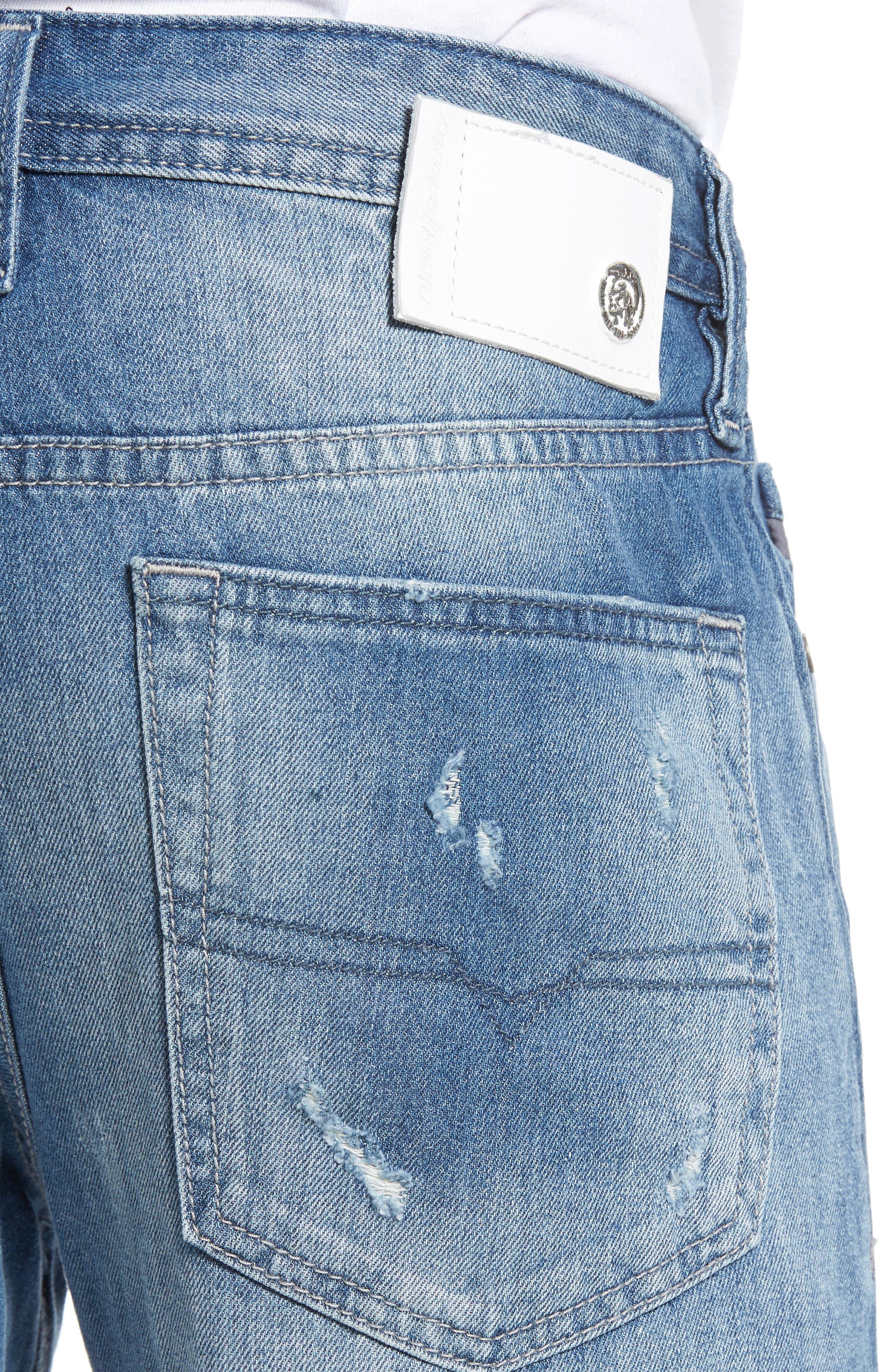 DIESEL Buster Slim Straight Leg Jeans,                             Alternate thumbnail 4, color,                             C84cm