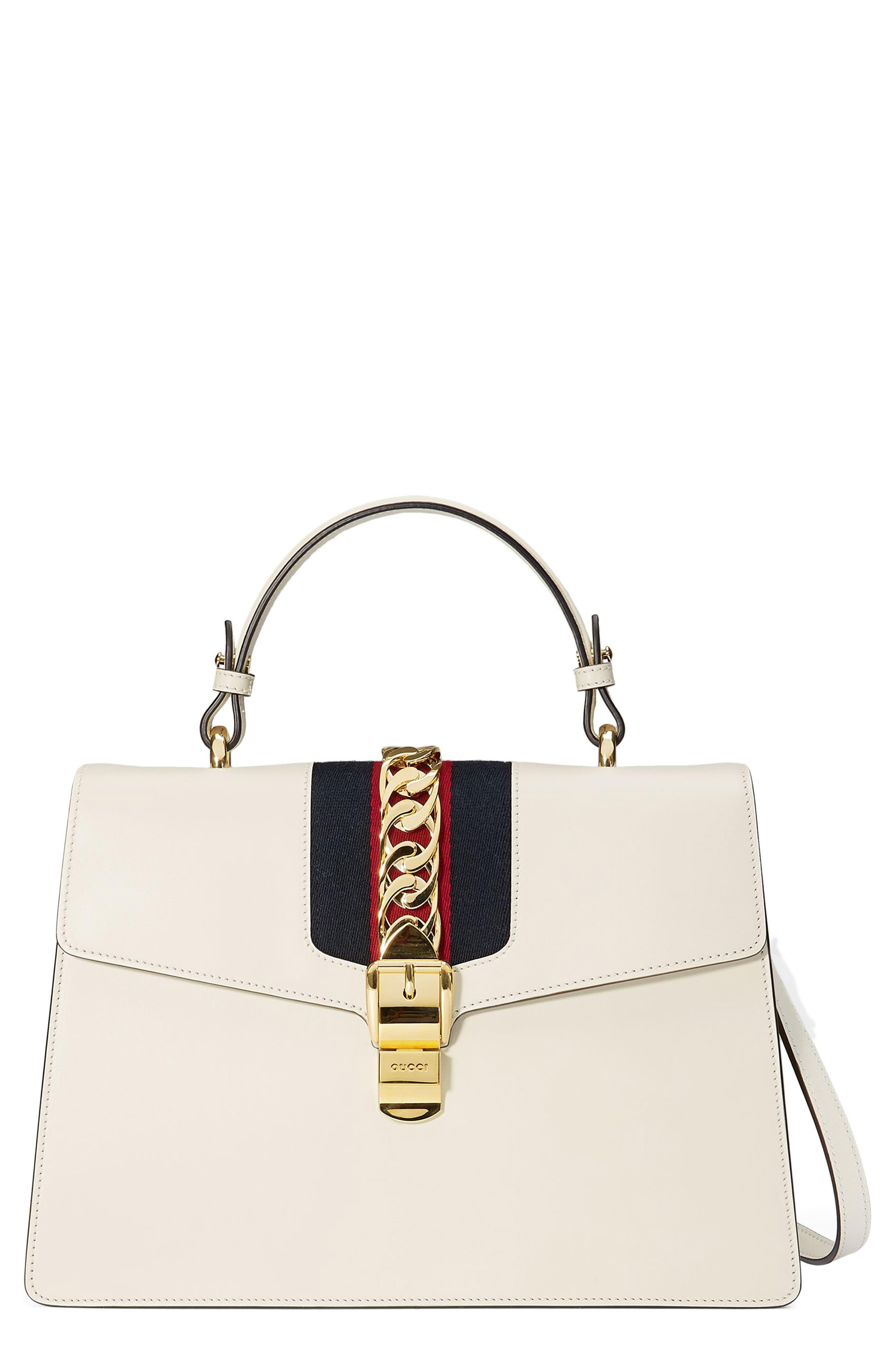 Gucci Sylvie Top Handle Leather Shoulder Bag
