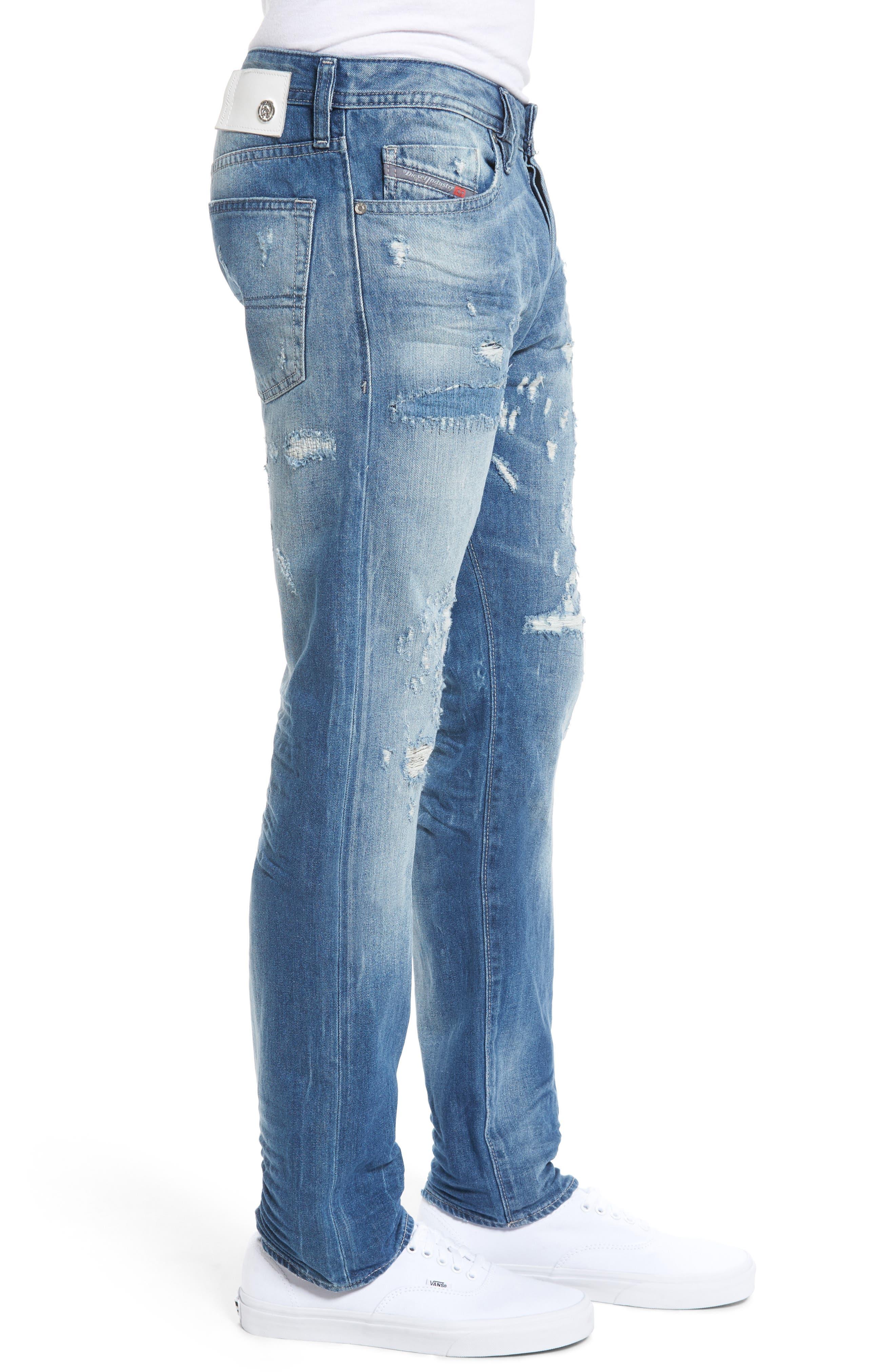 DIESEL Buster Slim Straight Leg Jeans,                             Alternate thumbnail 3, color,                             C84cm