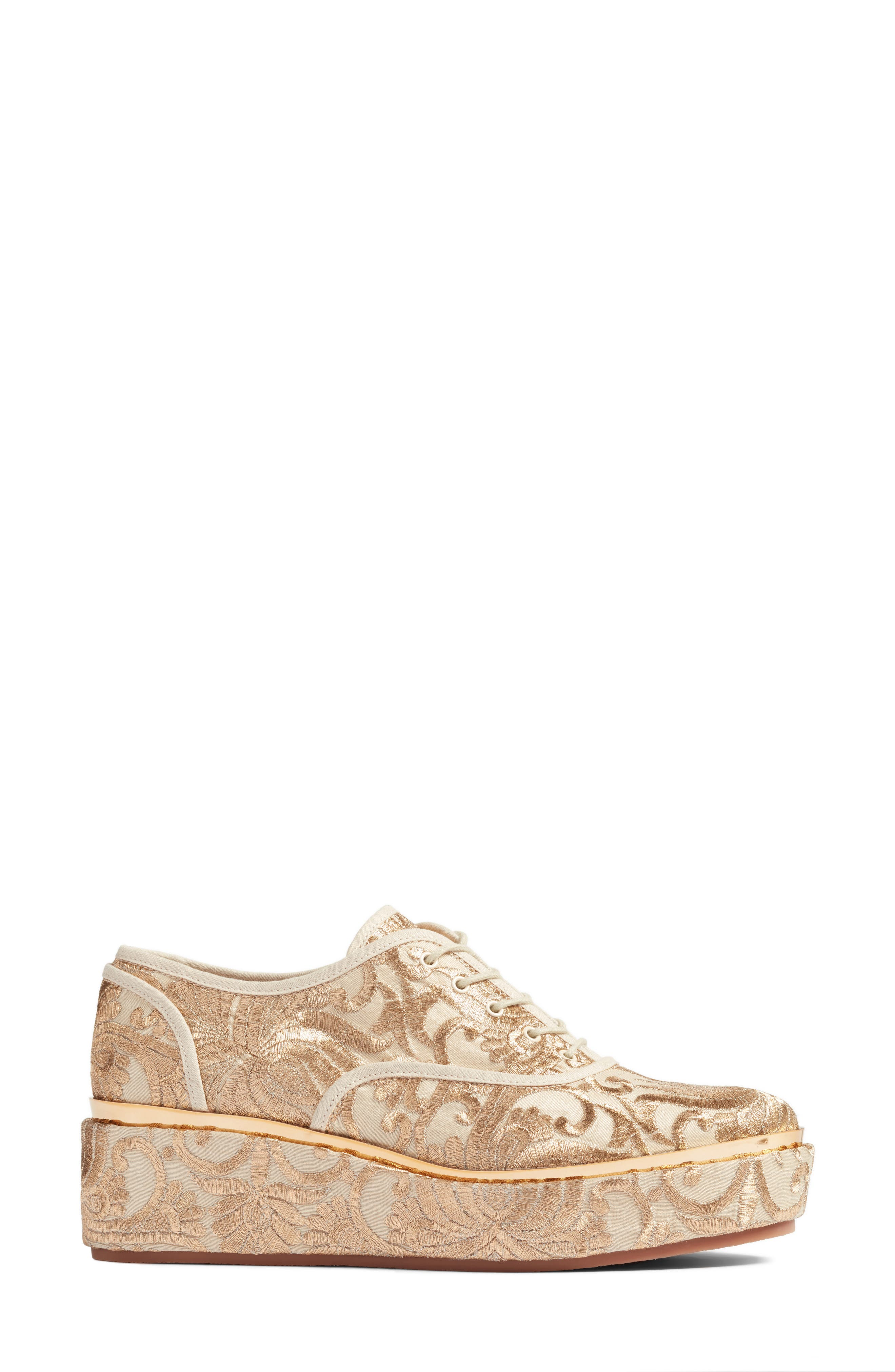 Arden Platform Oxford,                             Alternate thumbnail 3, color,                             Beige/ Gold Nayan Brocade