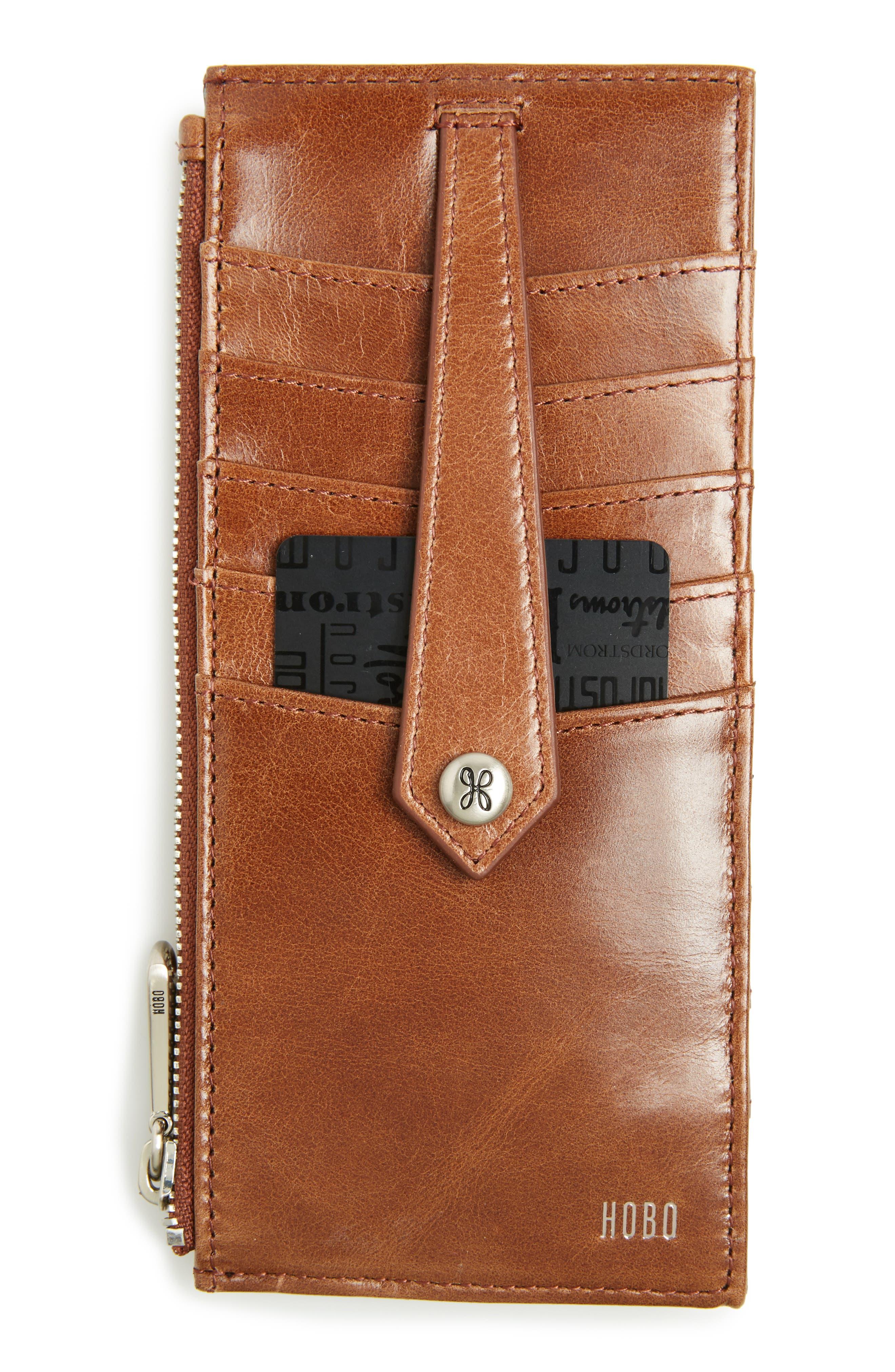 'Linn' Leather Card Case,                             Main thumbnail 1, color,                             Cafe