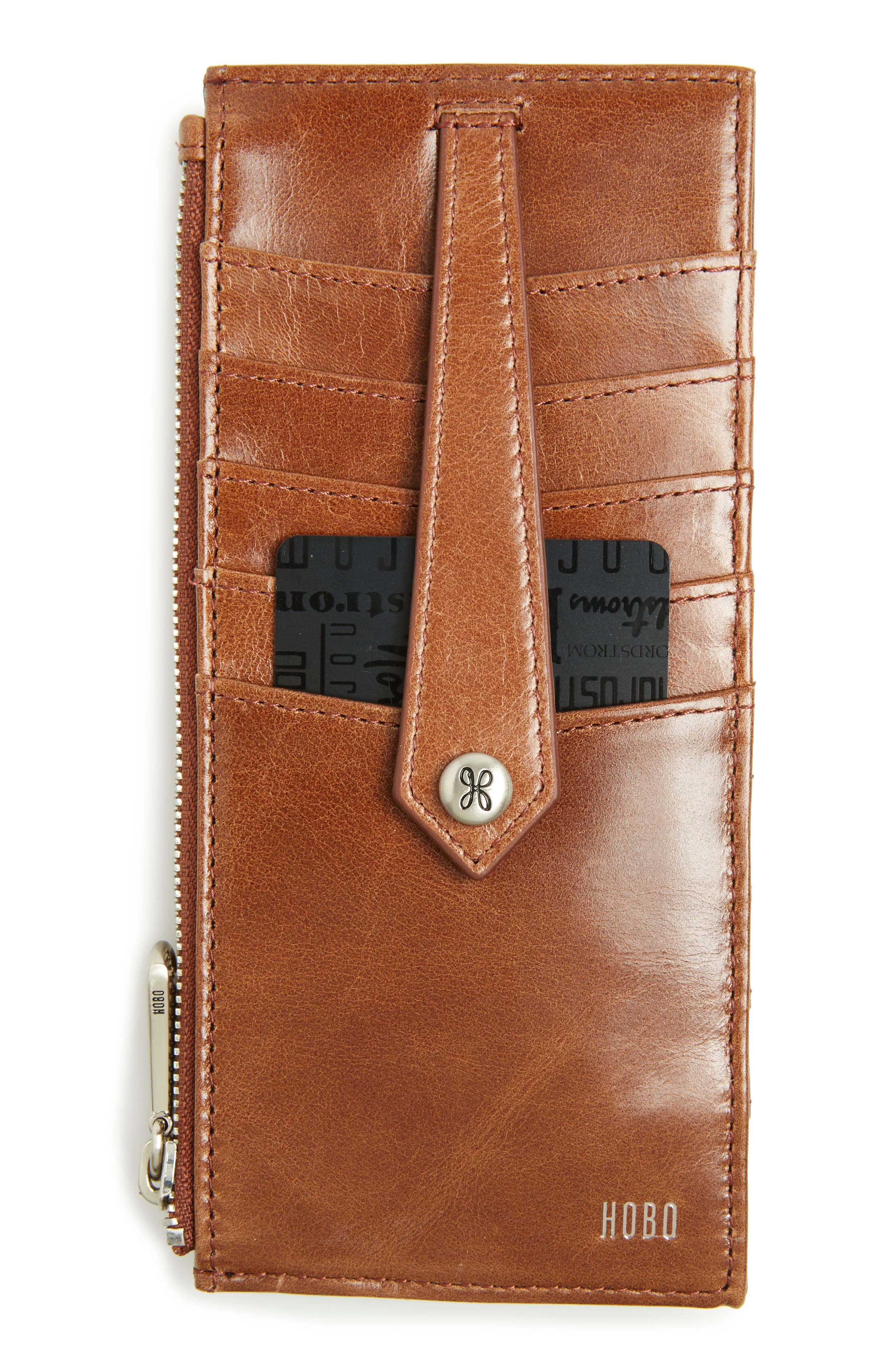 'Linn' Leather Card Case,                         Main,                         color, Cafe