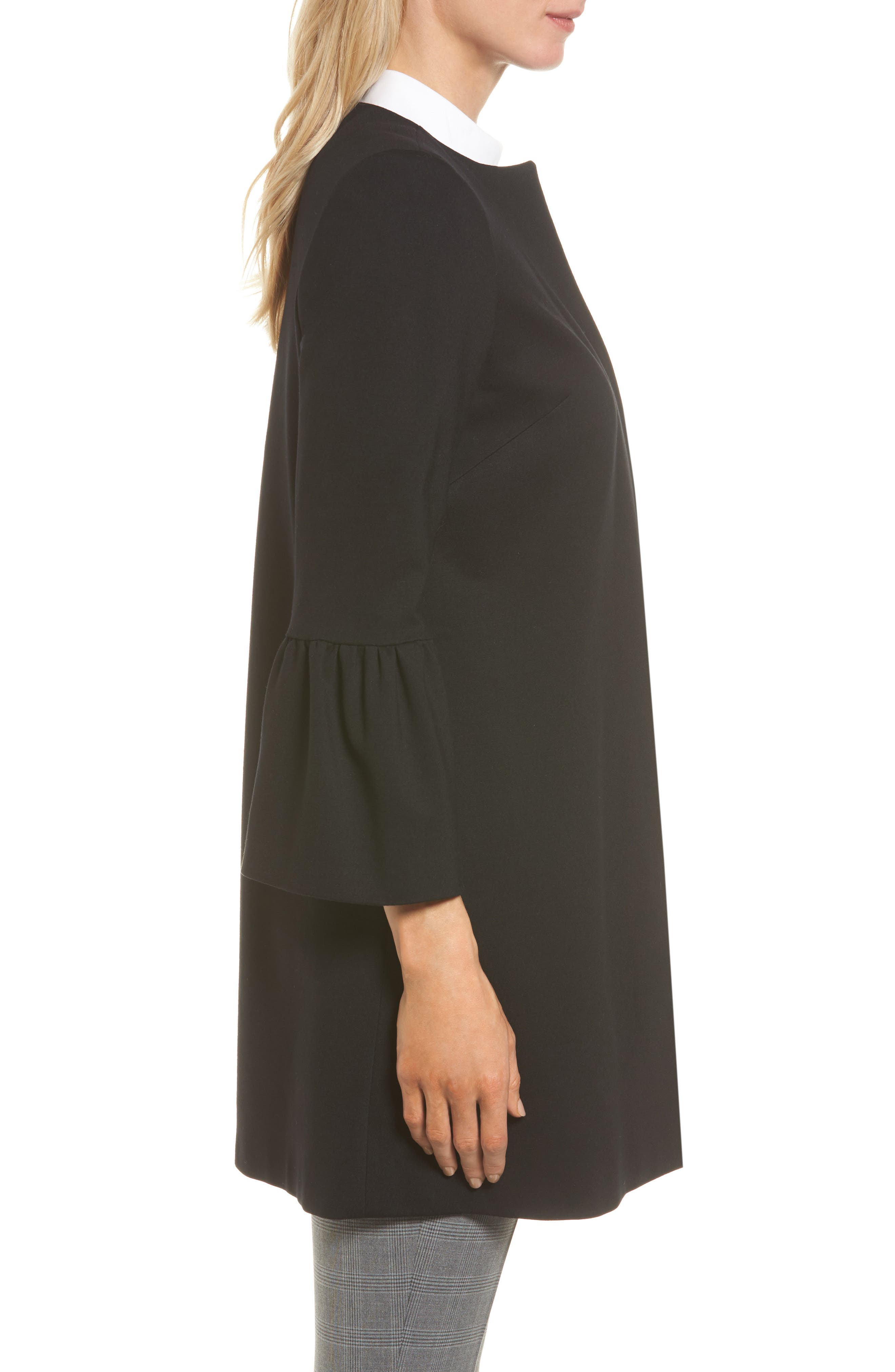 Trumpet Sleeve Coat,                             Alternate thumbnail 3, color,                             Black