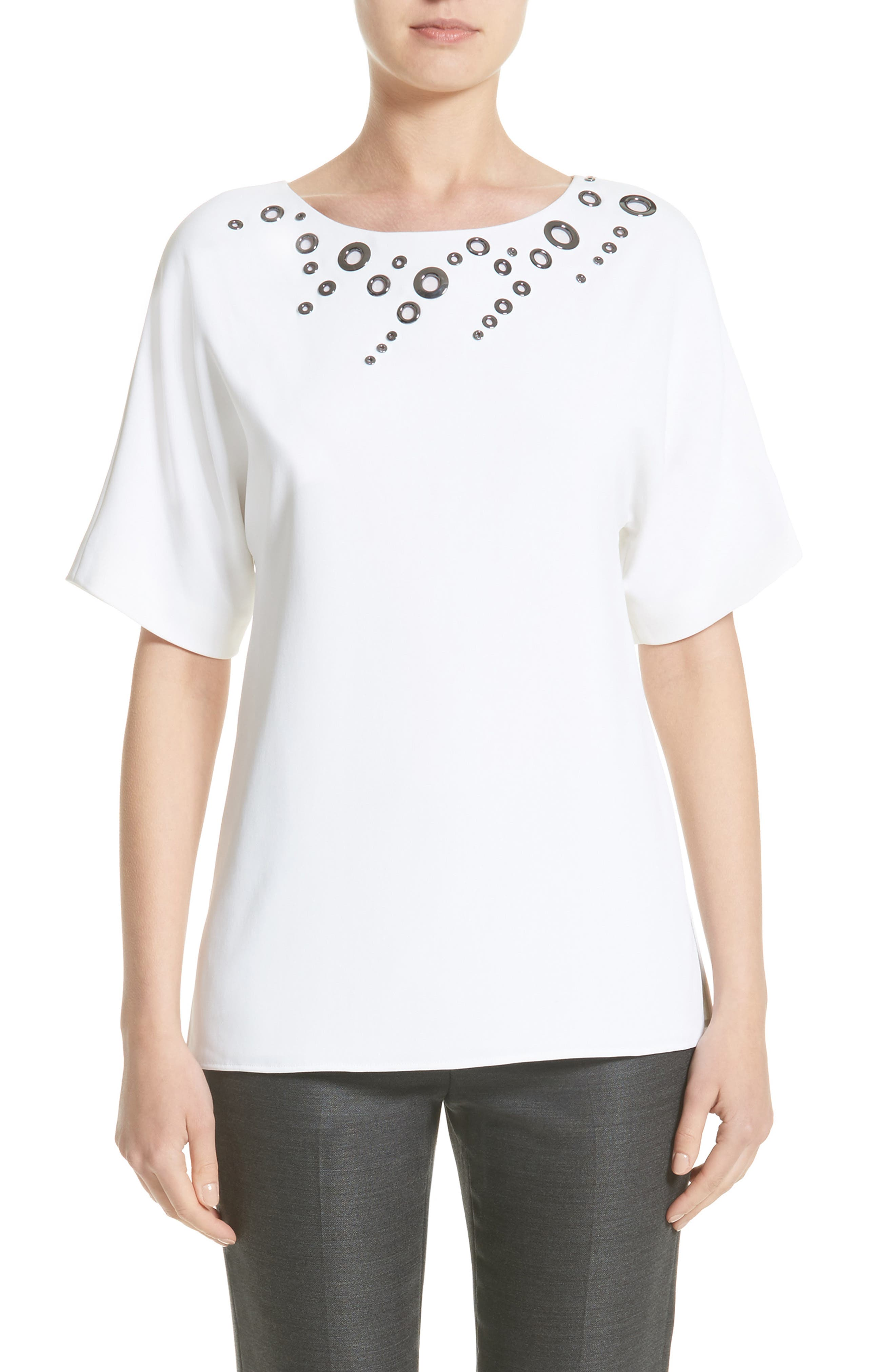 Grommet Embellished Stretch Cady Top,                             Main thumbnail 1, color,                             Bianco