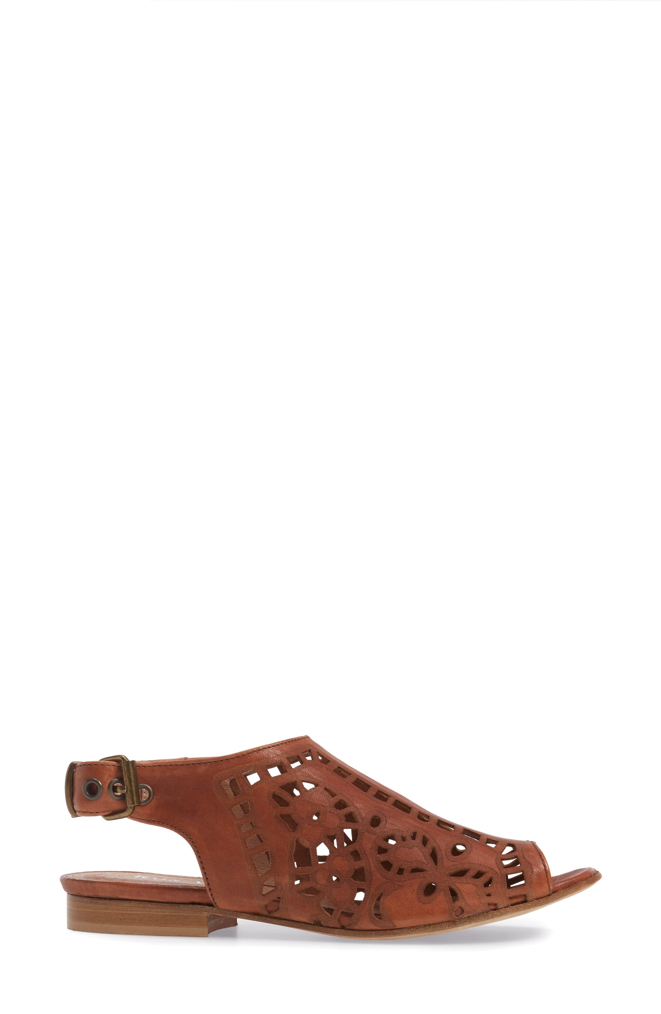 Ally Slingback Sandal,                             Alternate thumbnail 3, color,                             Cognac Leather