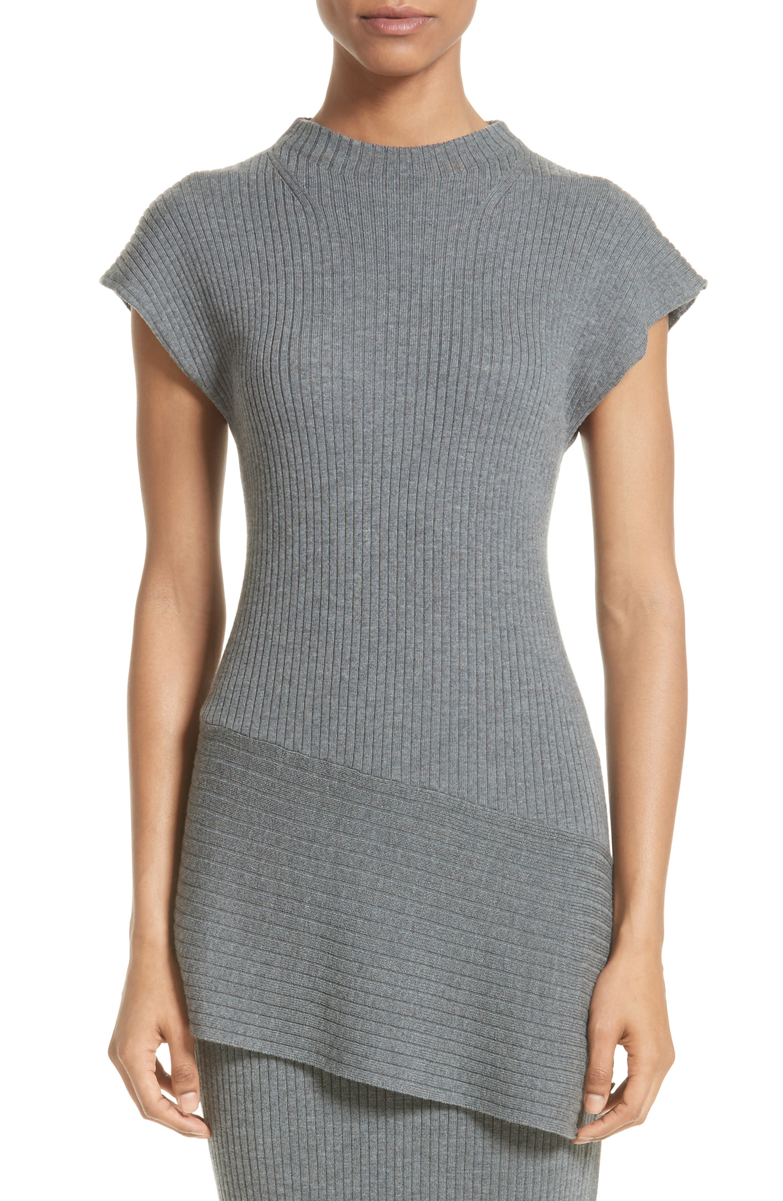 Alternate Image 1 Selected - St. John Collection Asymmetrical Rib Knit Top