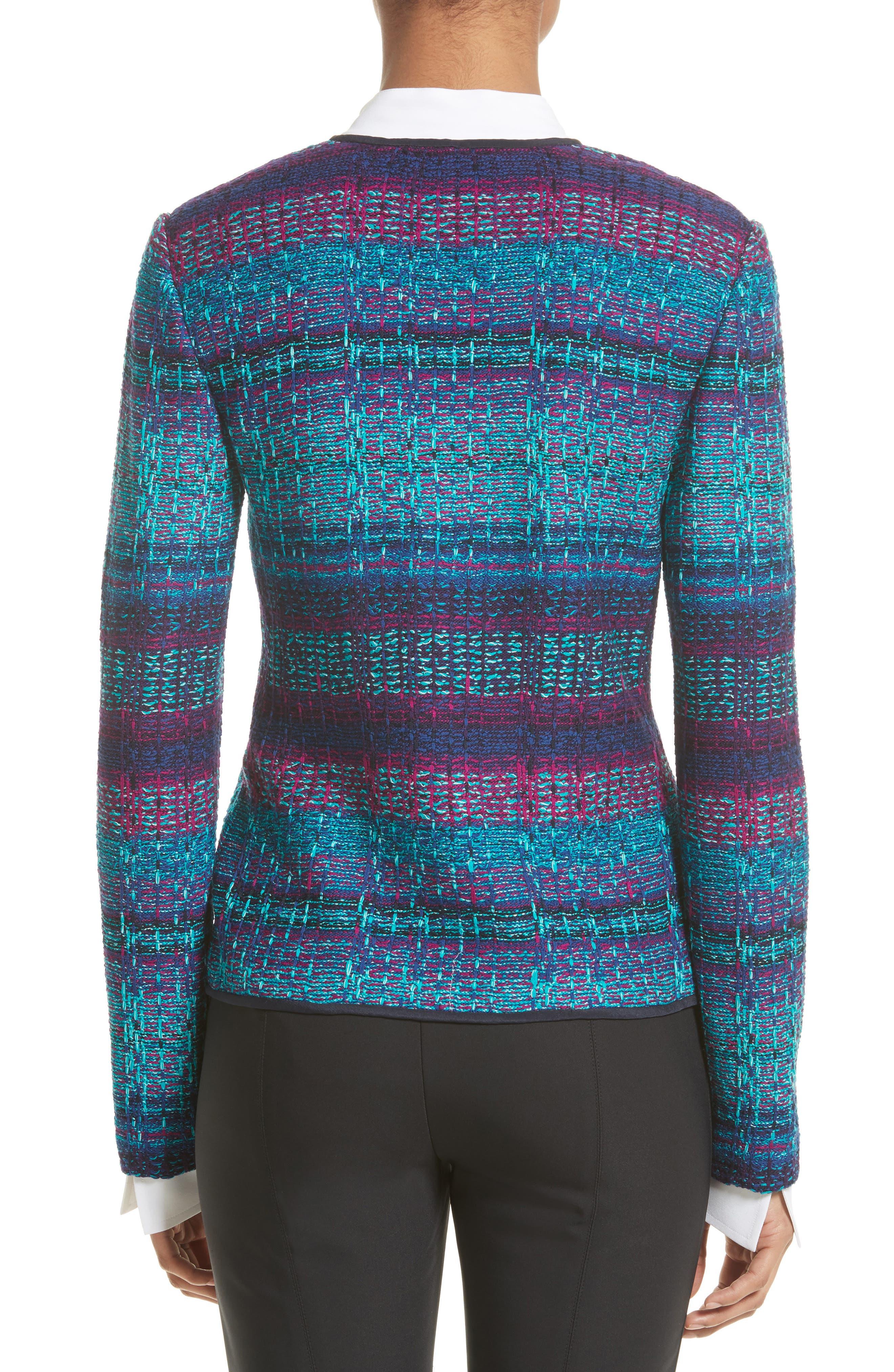 Ellah Knit Jacket,                             Alternate thumbnail 2, color,                             Navy Multi