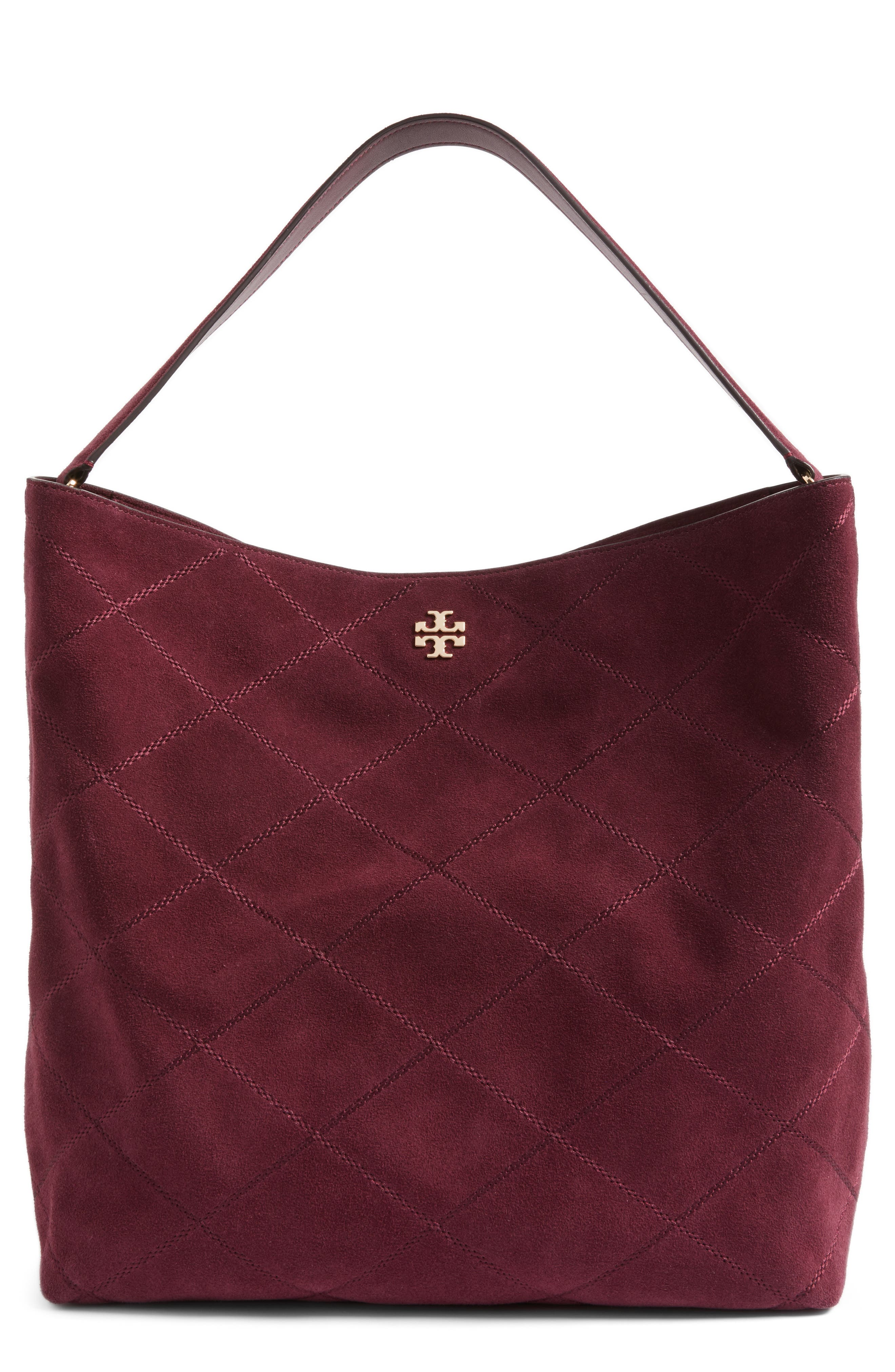 TORY BURCH Frida Stitched Suede Hobo