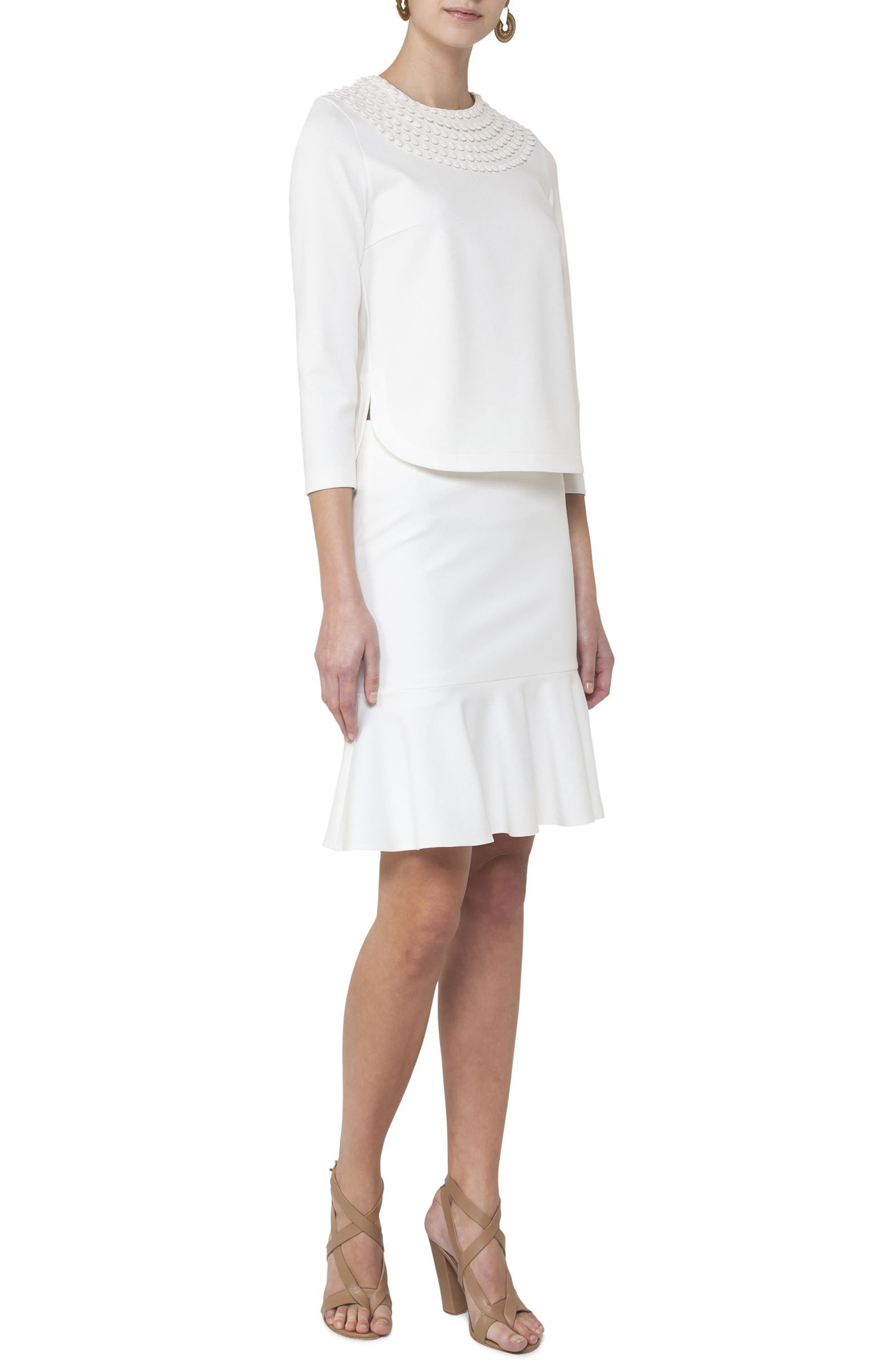 Jersey Flounce Hem Skirt,                             Alternate thumbnail 3, color,                             Cream