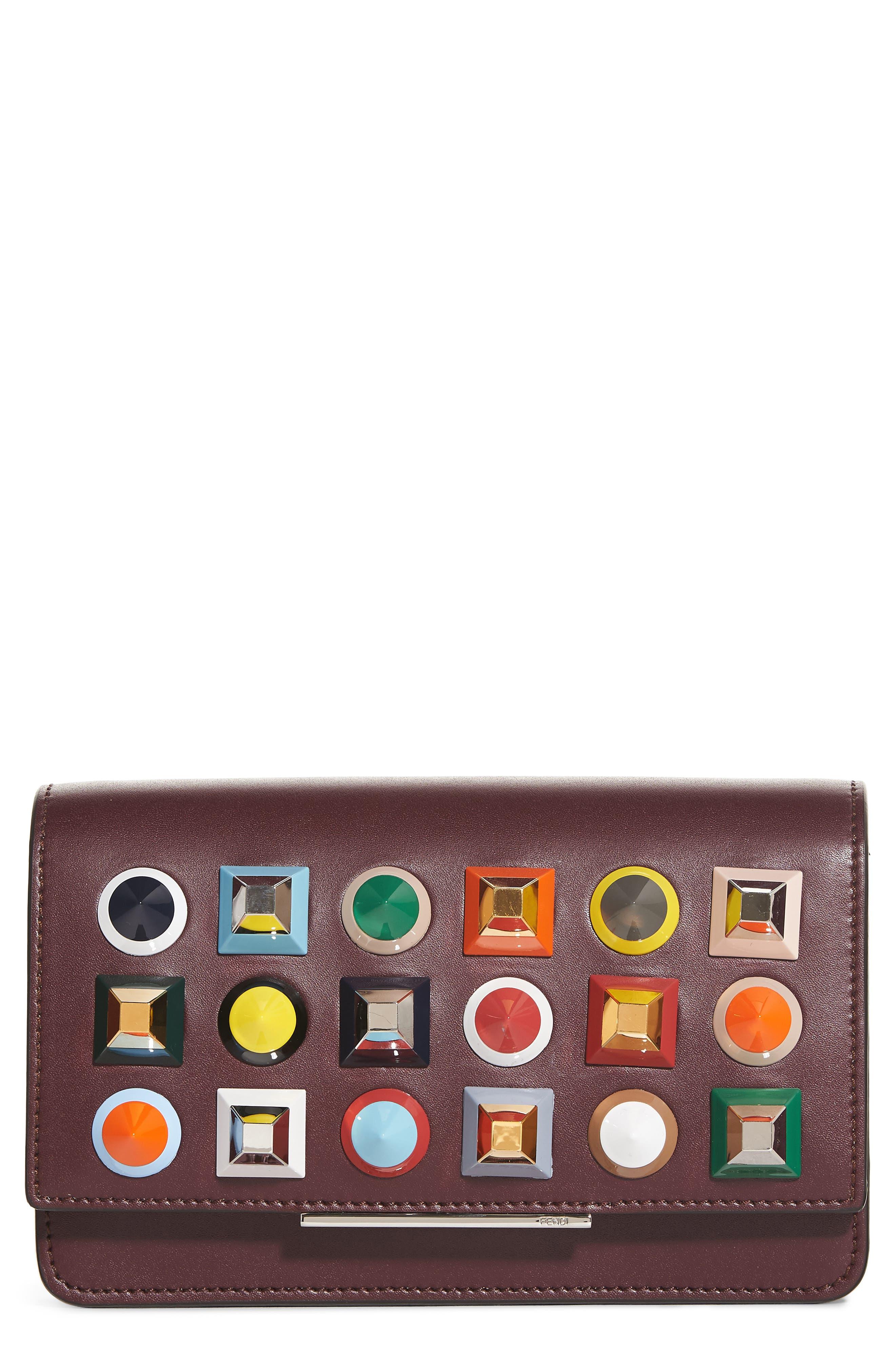 Fendi Rainbow Studded Leather Tube Wallet on a Chain