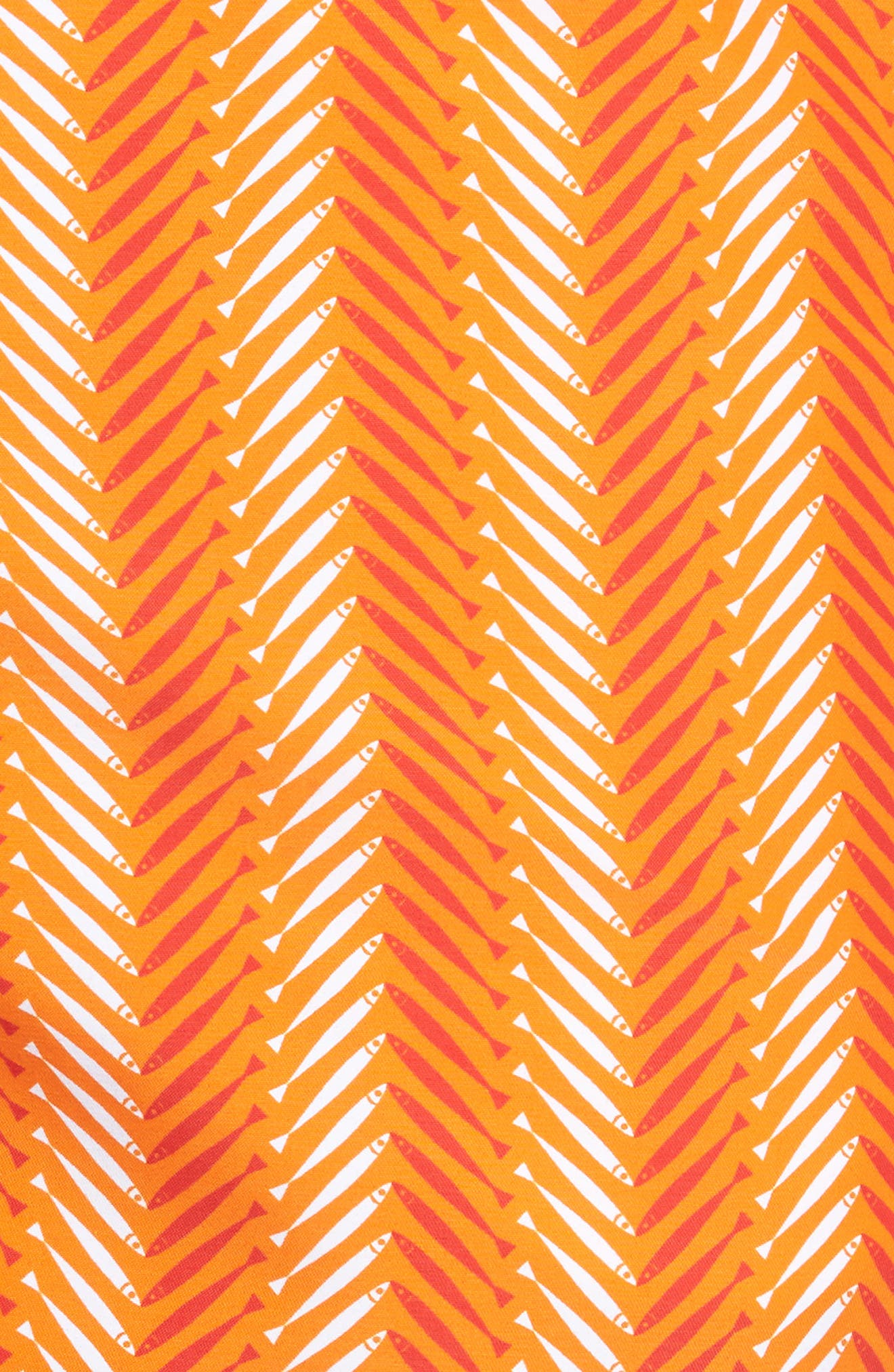 Moorea V-Fish Print Swim Trunks,                             Alternate thumbnail 5, color,                             Papaya