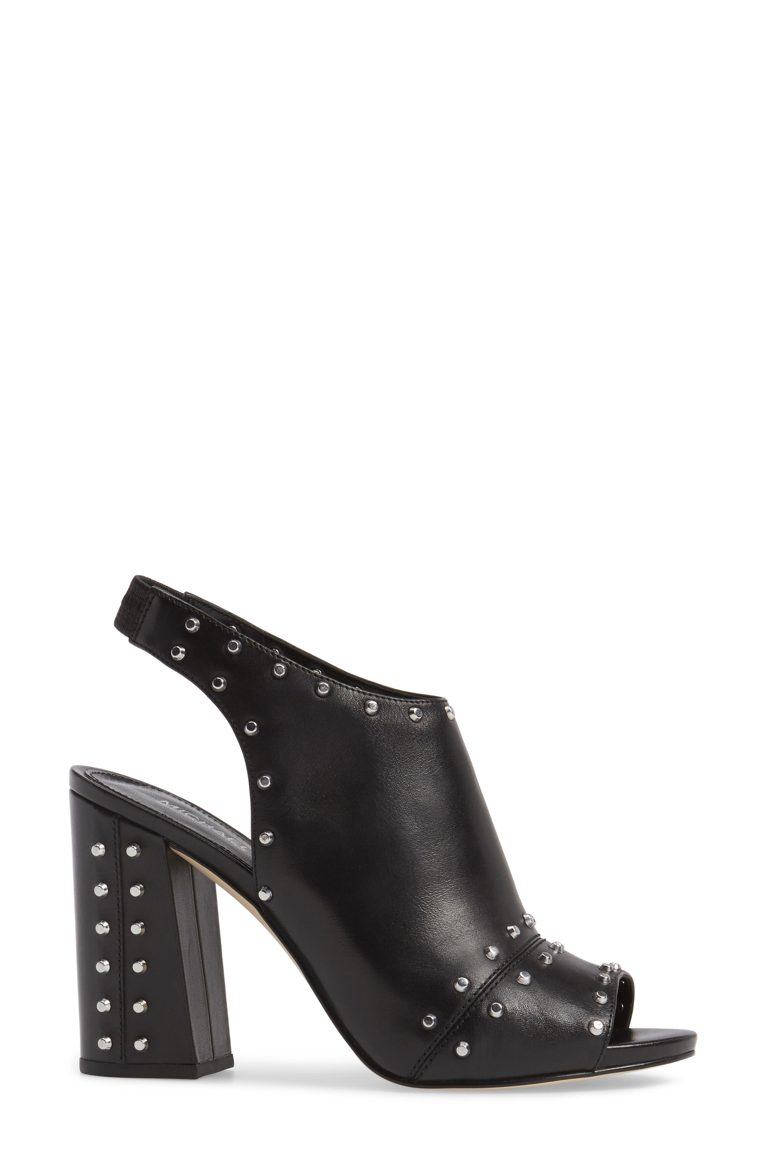 Astor Studded Sandal,                             Alternate thumbnail 3, color,                             Black Leather