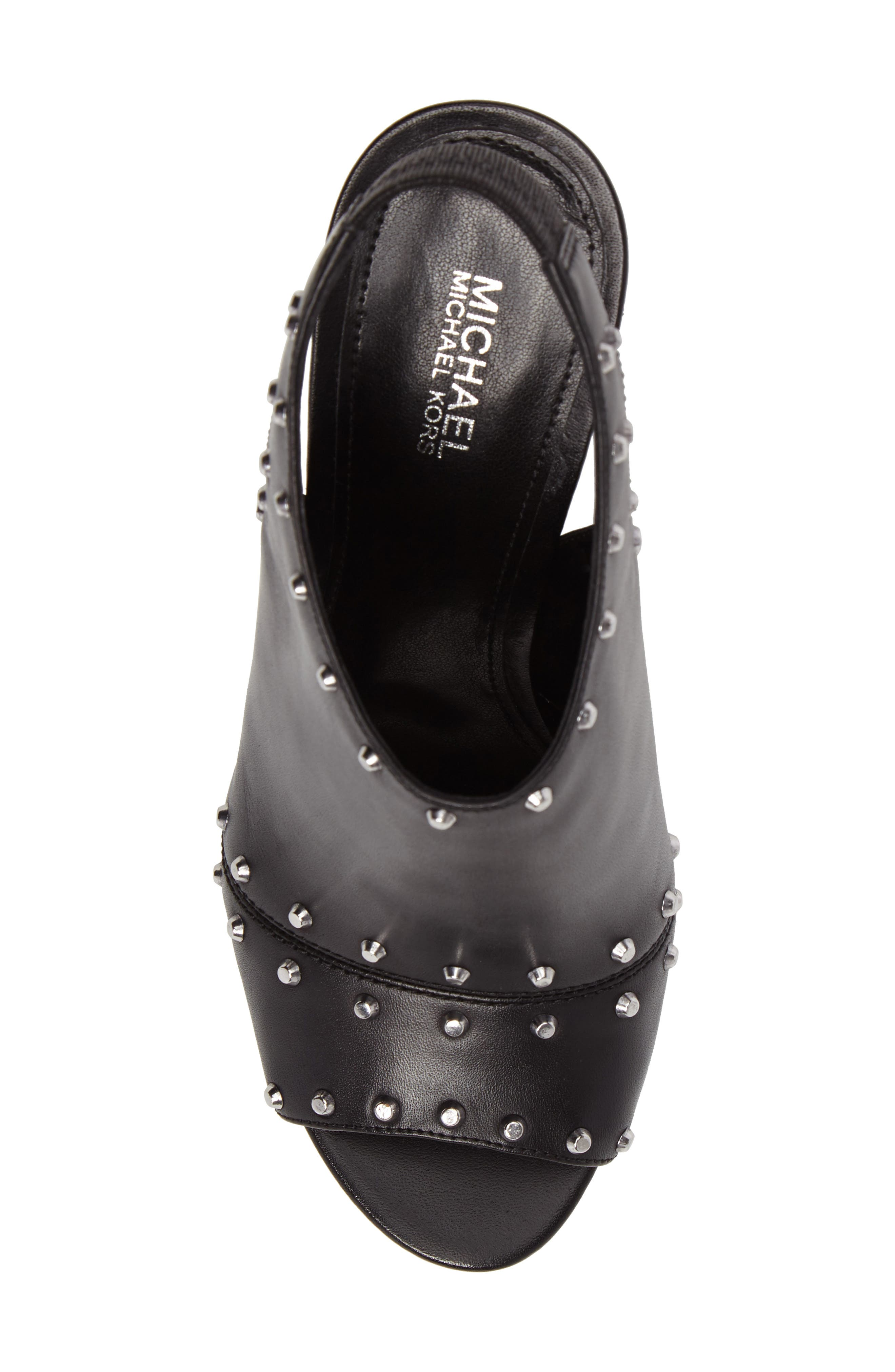 Astor Studded Sandal,                             Alternate thumbnail 5, color,                             Black Leather