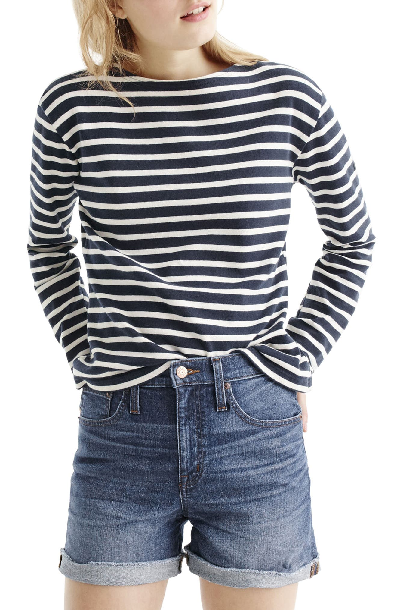 High Rise Denim Shorts,                         Main,                         color, Brixton Wash