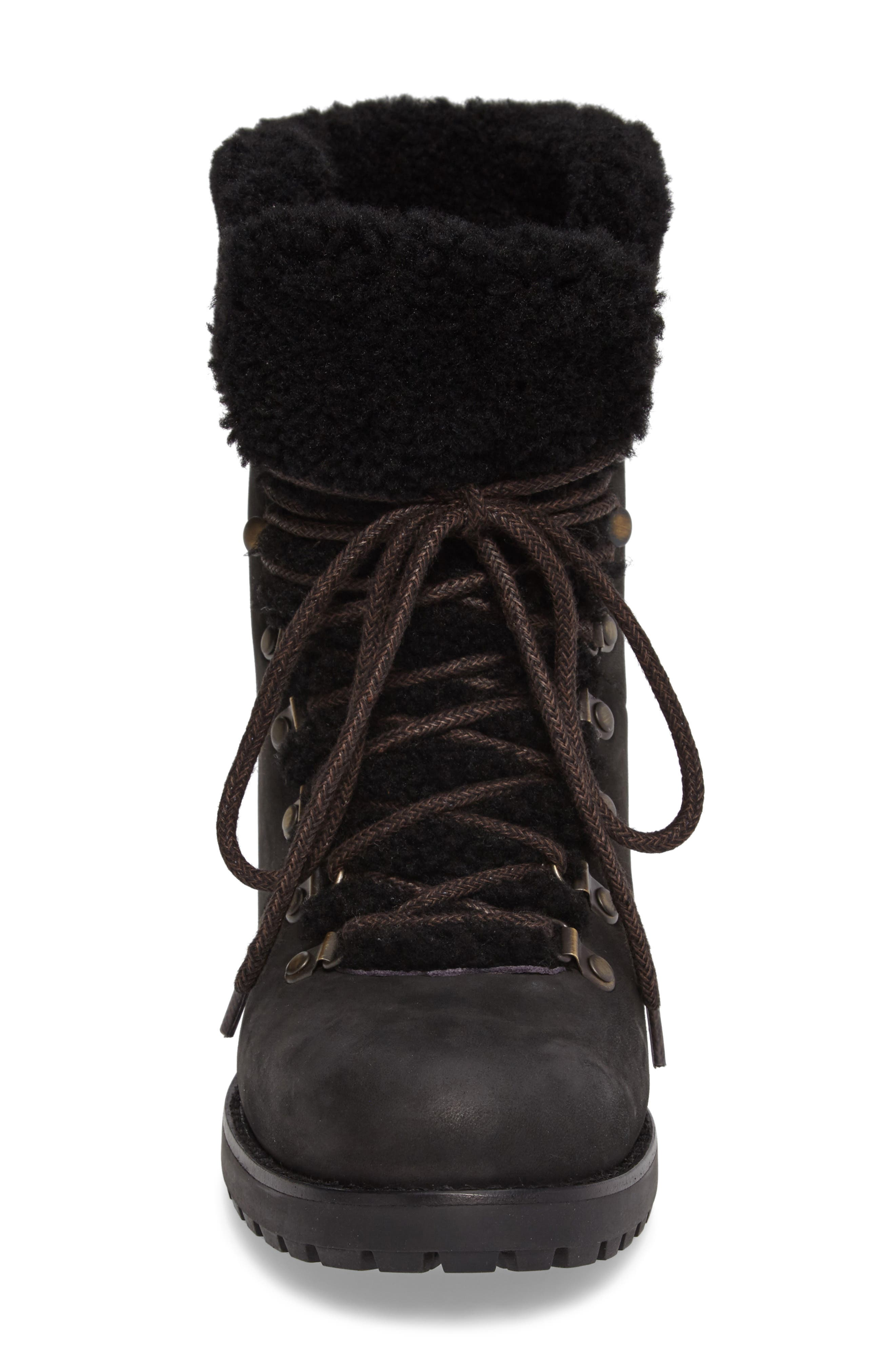 Fraser Genuine Shearling Water Resistant Boot,                             Alternate thumbnail 4, color,                             Black Leather